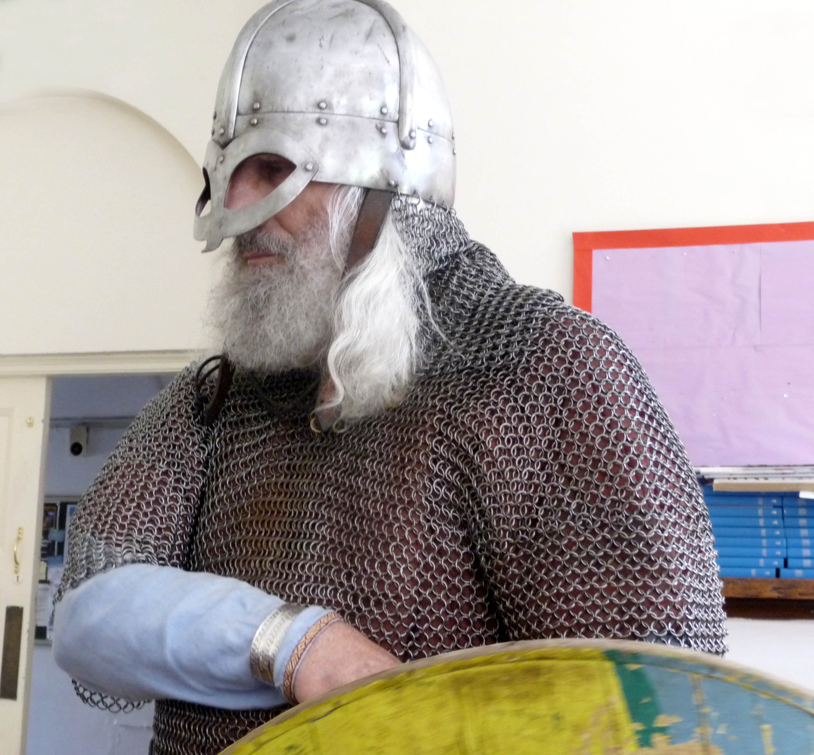 Snorri the Viking is wearing a spectacle helmet made of iron