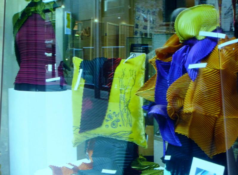 Nawal Gebreel textiles window display in the Bluecoat, Liverpool