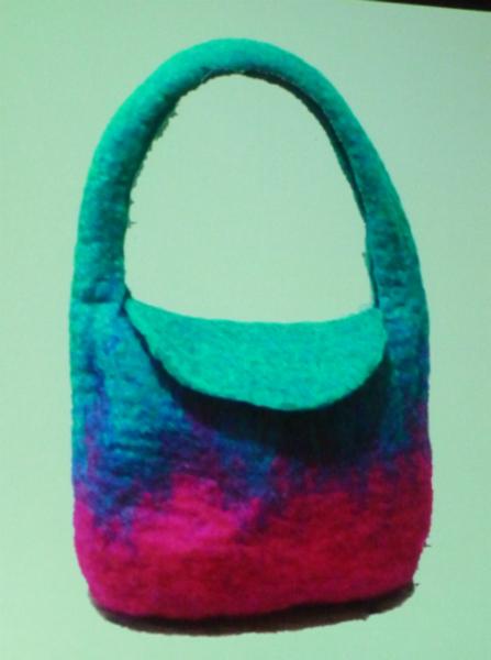 felt handbag made by Nawal Gebreel