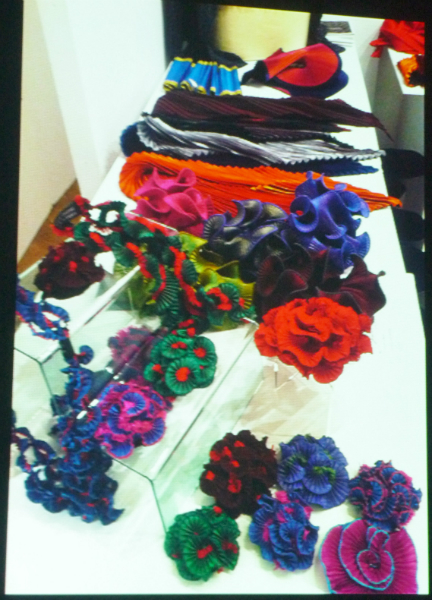 display of fabric brooches