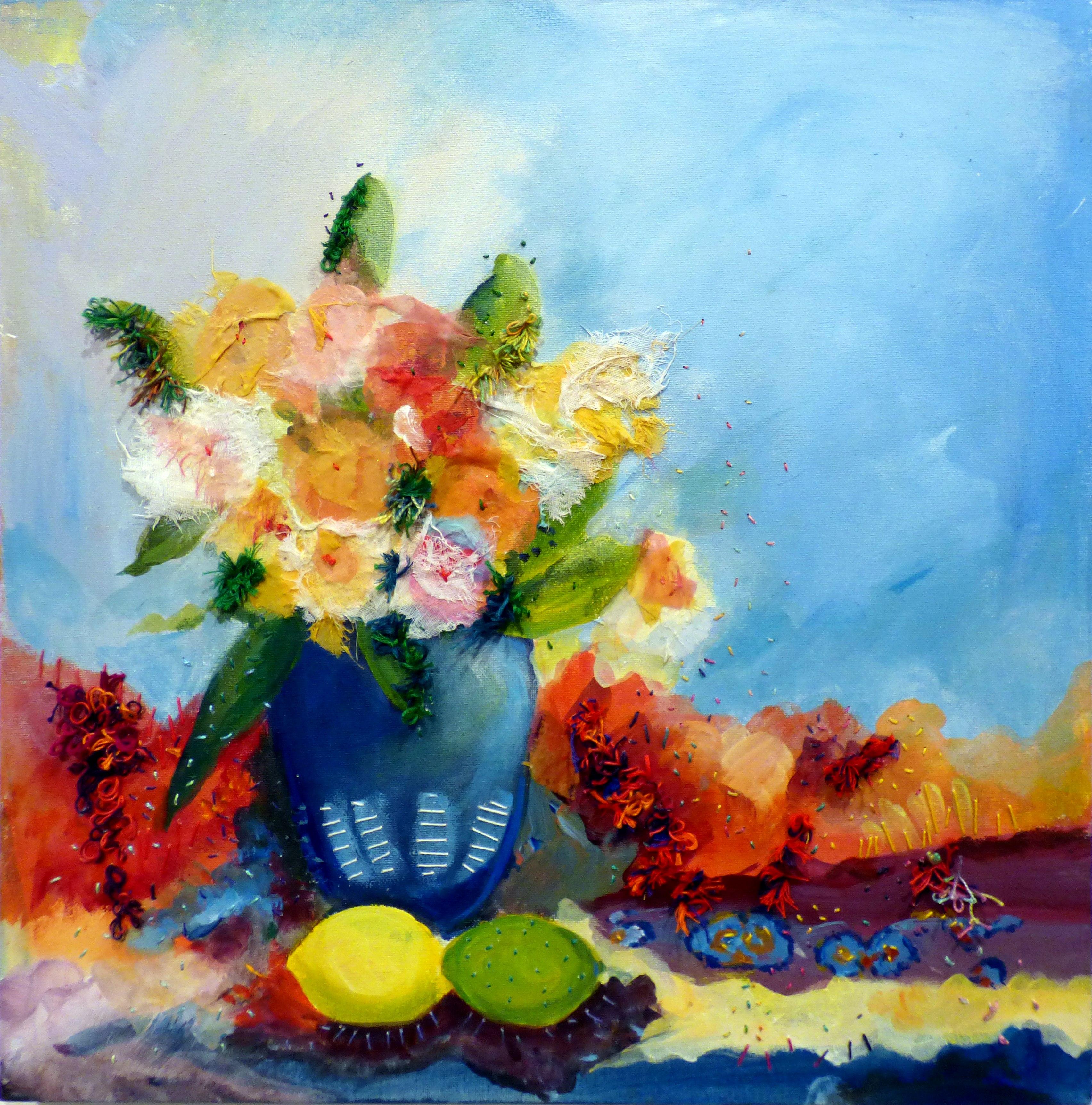 FLOWERS IN A POT by Liliane Taylor, Ten Plus exhibition, Nantwich
