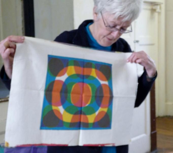 Elsie Watkins showing us one of her samples