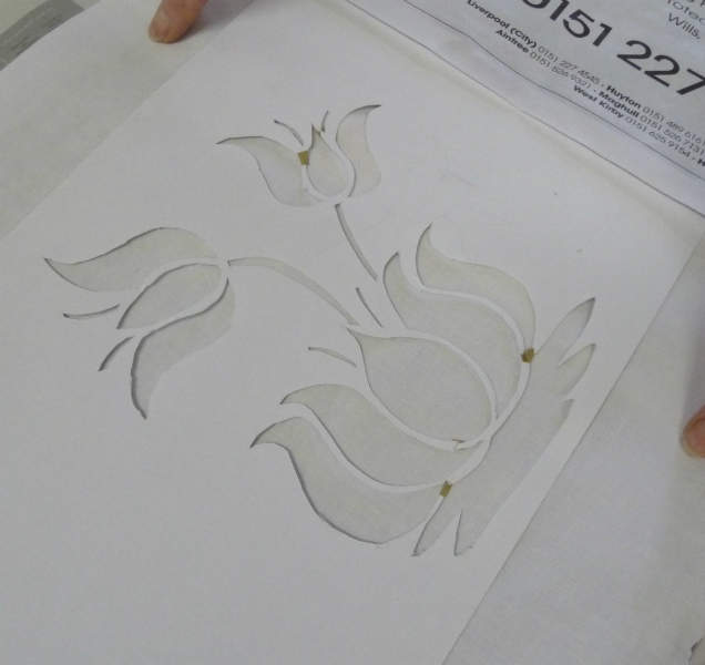 paper stencil cut out and ready for screen printing