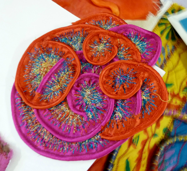 One of Elsie\'s samples of manipulated and embroidered fabric