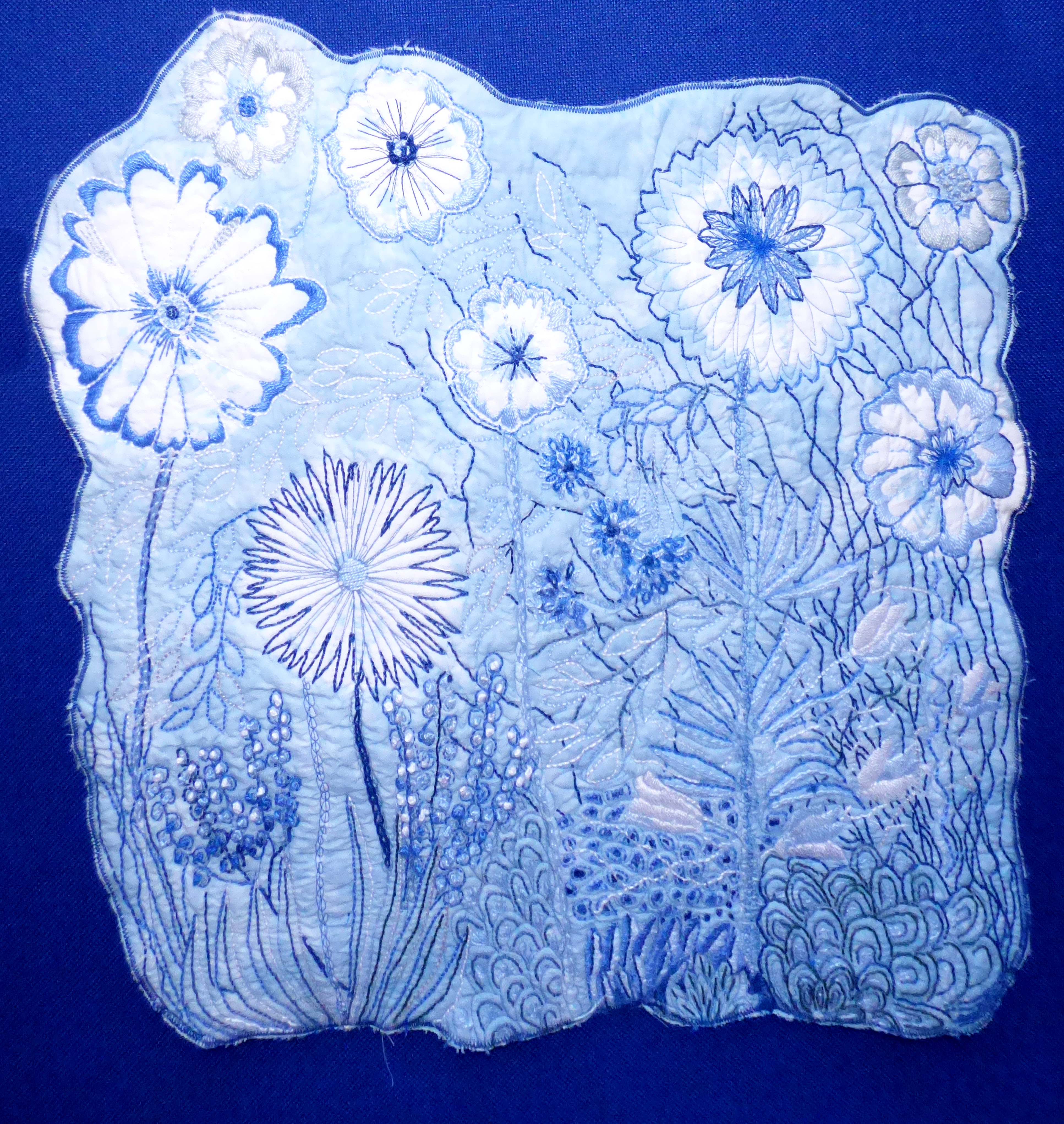 WILD FLOWER MEADOW by Sue Tressidor, Contemporary Threads group, March 2020
