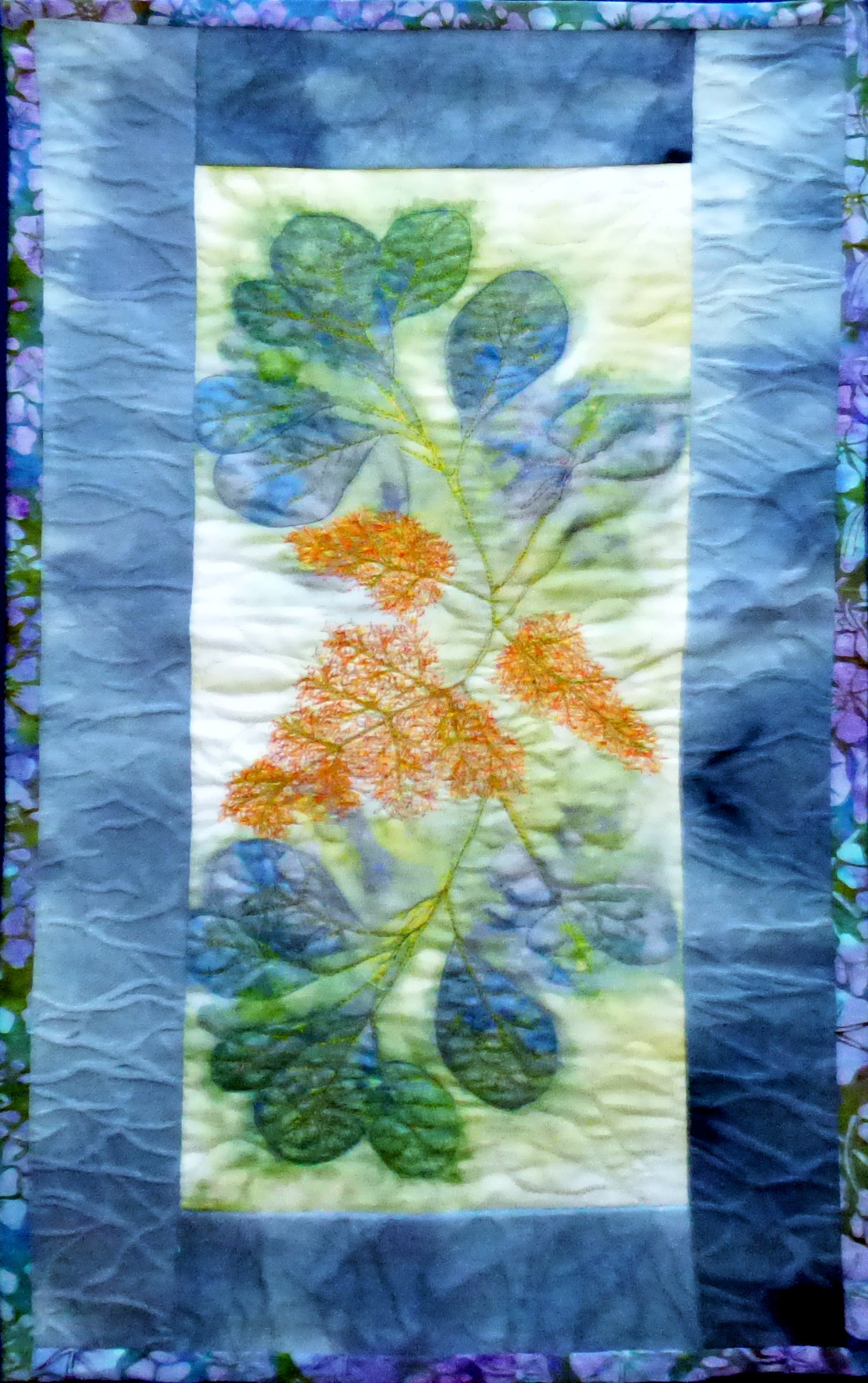 SMOKE BUSH ECOPRINT by Mal Ralston, Contemporary Threads group, March 2020