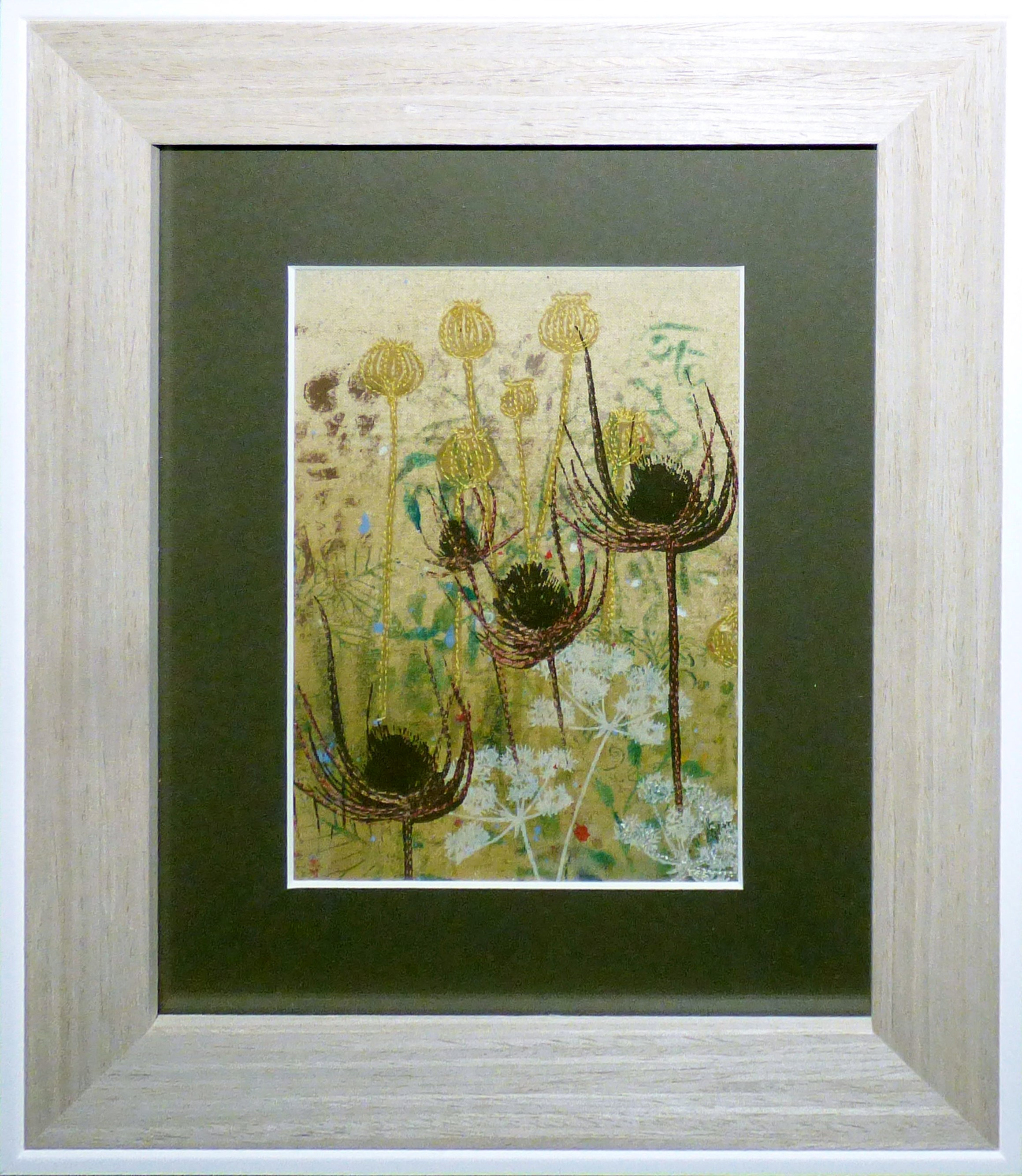 POPPYHEADS AND TEASELS 2 by Ann Beech,  Contemporary Threads group, March 2020