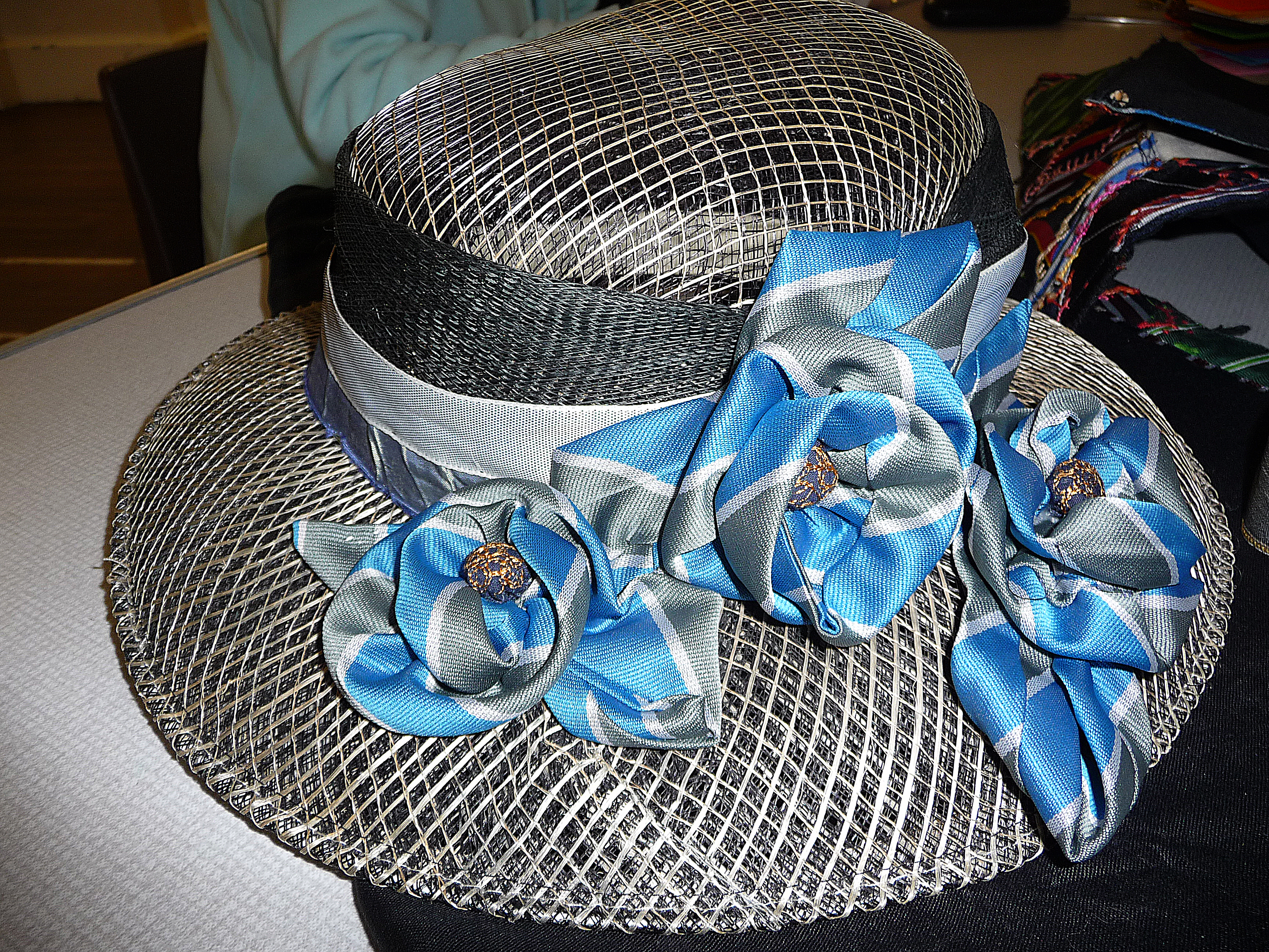 """""""The Ties That Bind Us"""" neck-tie Challenge competition - wedding hat embellished with old school tie by Marie Stacey and Ann Rogers"""