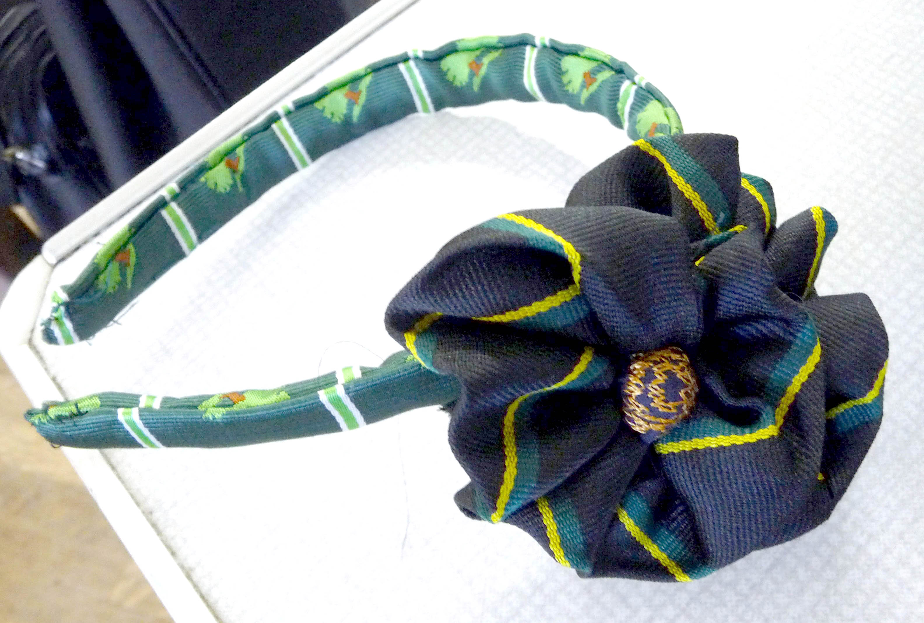 """""""The Ties That Bind Us"""" neck-tie Challenge competition - hairband covered and embellished with old school ties by Ann Rogers"""