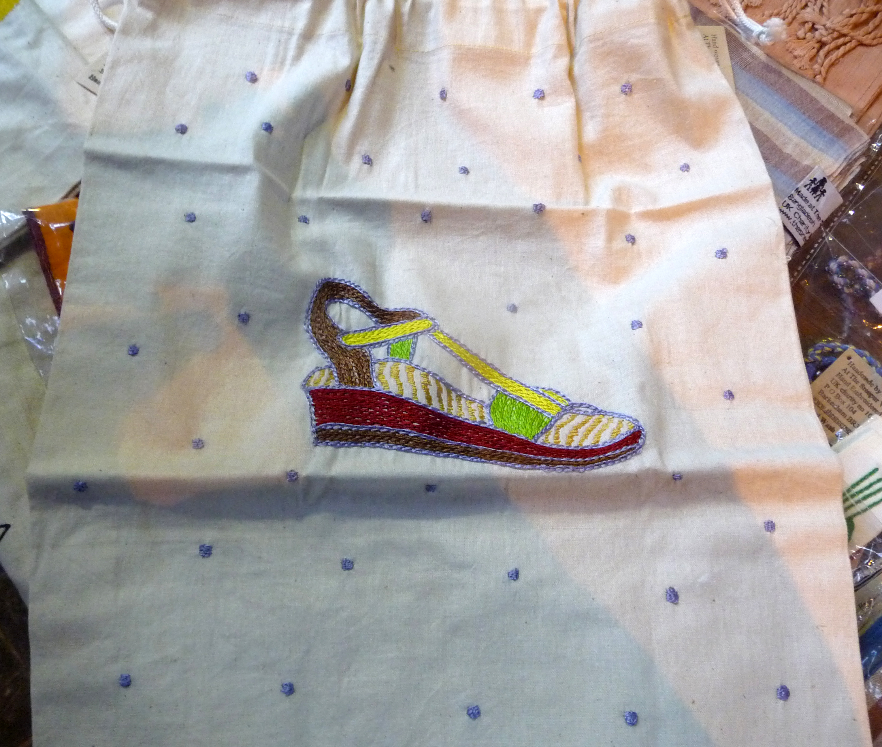 hand embroidered shoe bag made by women of Sreepur Village