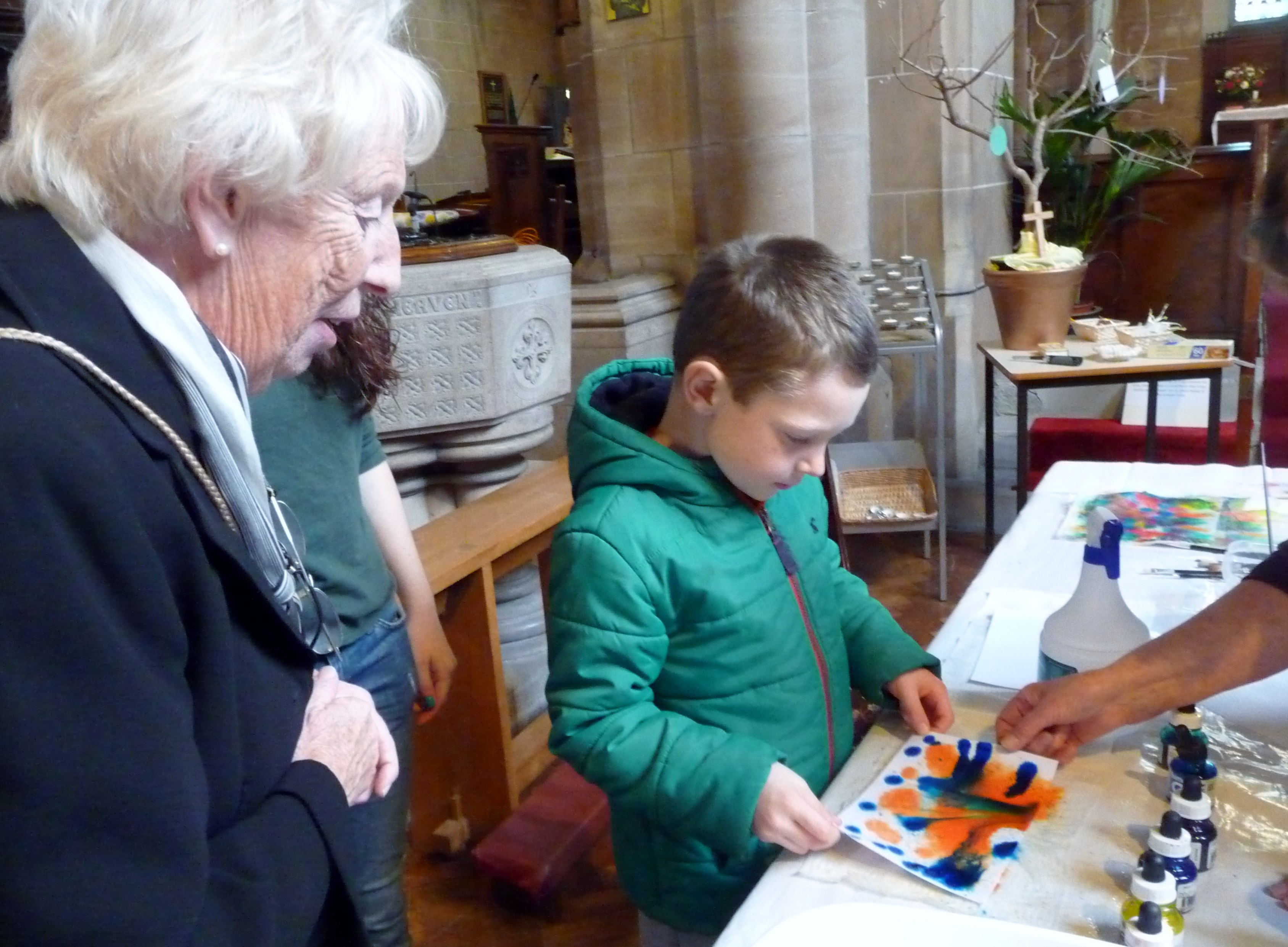 Ruby Porter MBE at the children's craft afternoon in St. Barnabus Church