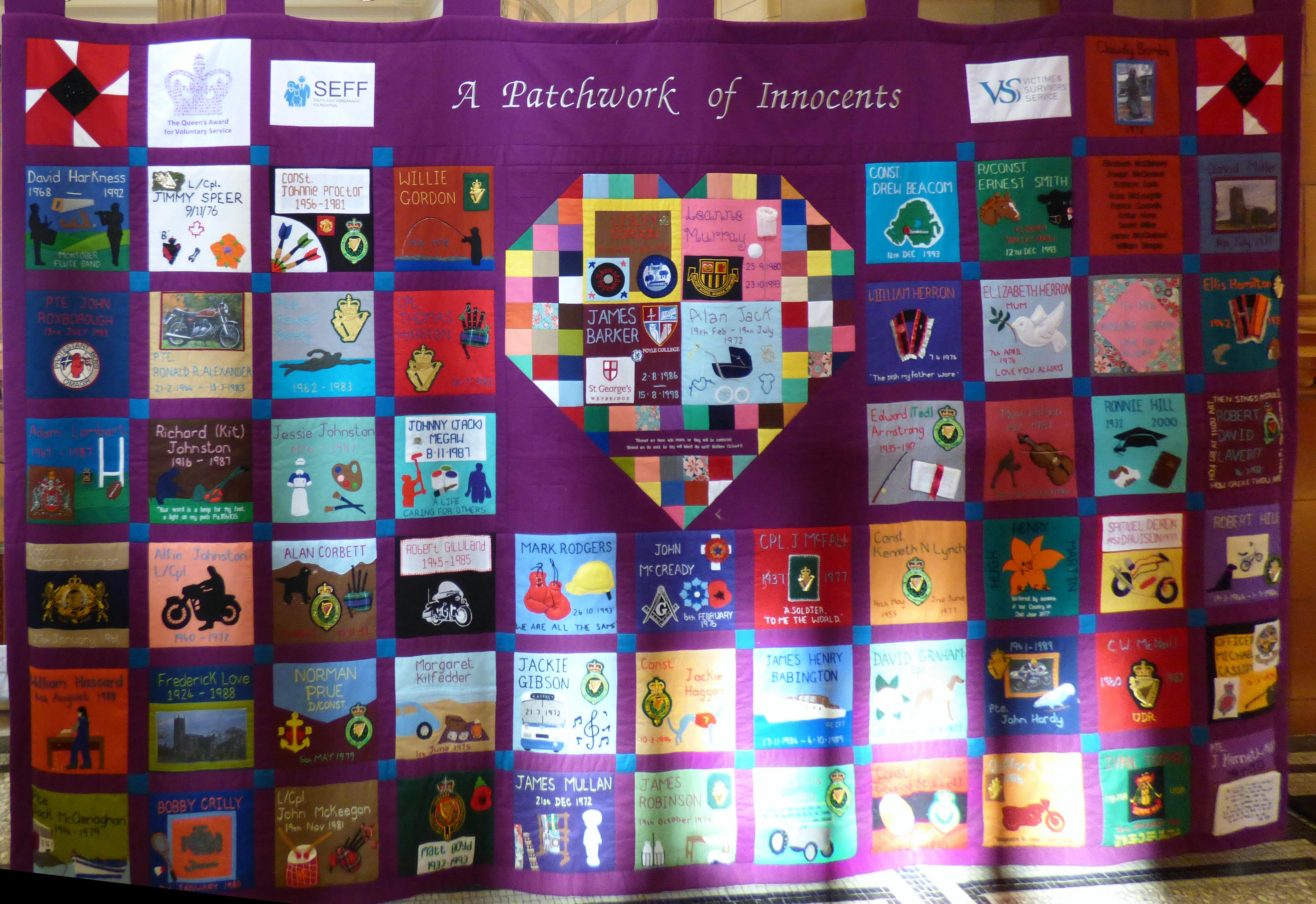 """A PATCHWORK OF INNOCENTS, """"A Tribute to Innocents"""" quilt exhibition, Victoria Gallery, March 2018"""