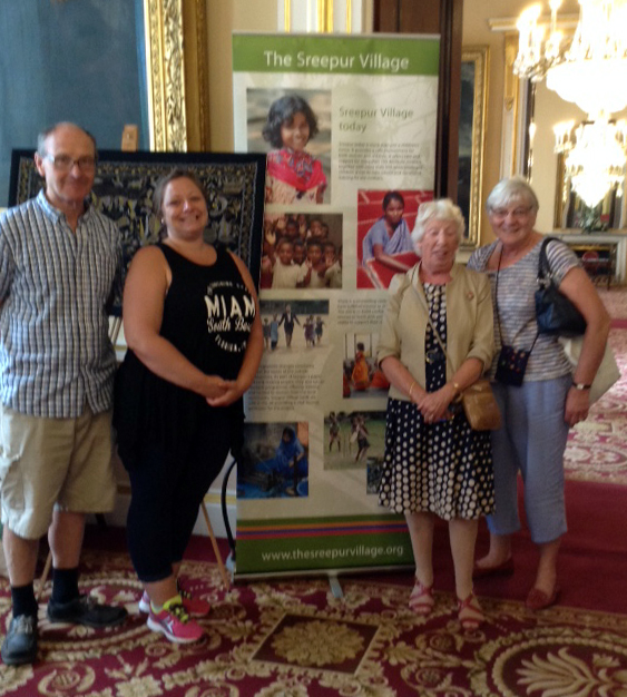 Ruby Porter MBE with May & John Storey (parents of Dame Sarah Storey), and Emma who is Secretary of Sreepur Village charity, at Threading Dreams exhibition 2016 in Liverpool Town Hall