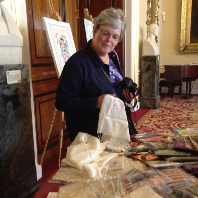Hilary McCormack , MEG Branch secretary,at Threading Dreams exhibition 2016 in Liverpool Town Hall