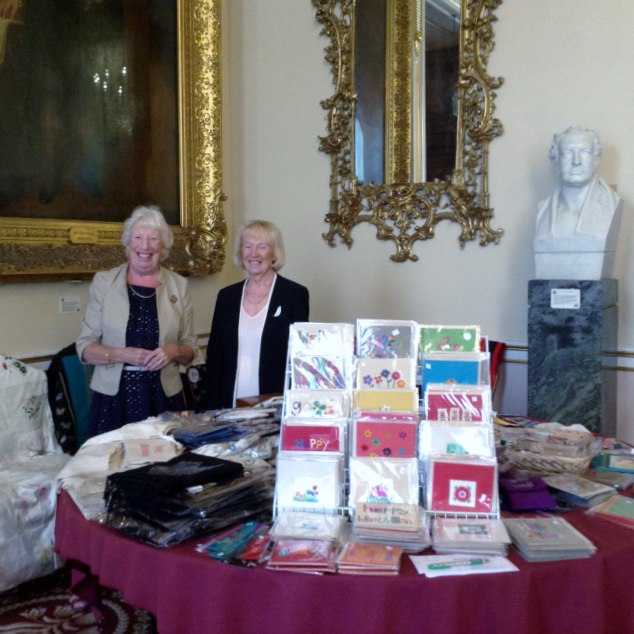 Ruby Porter MBE and her sister Kathy Green at Threading Dreams exhibition 2016 in Liverpool Town Hall