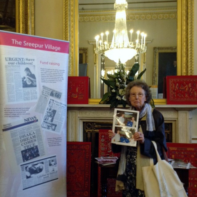 Pat Stock, a former MEG Chair, at Threading Dreams exhibition 2016 in Liverpool Town Hall