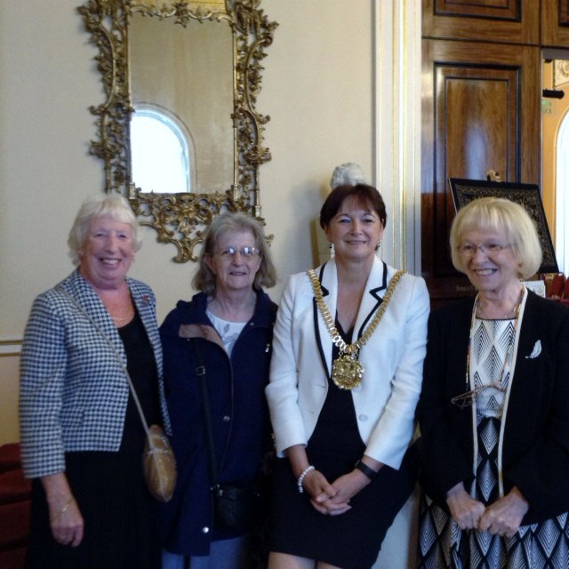 Liverpool Lord Mayor Roz Gladden with Ruby Porter MBE, a visitor named Janet and Kathy Green at Threading Dreams exhibition 2016 in Liverpool Town Hall