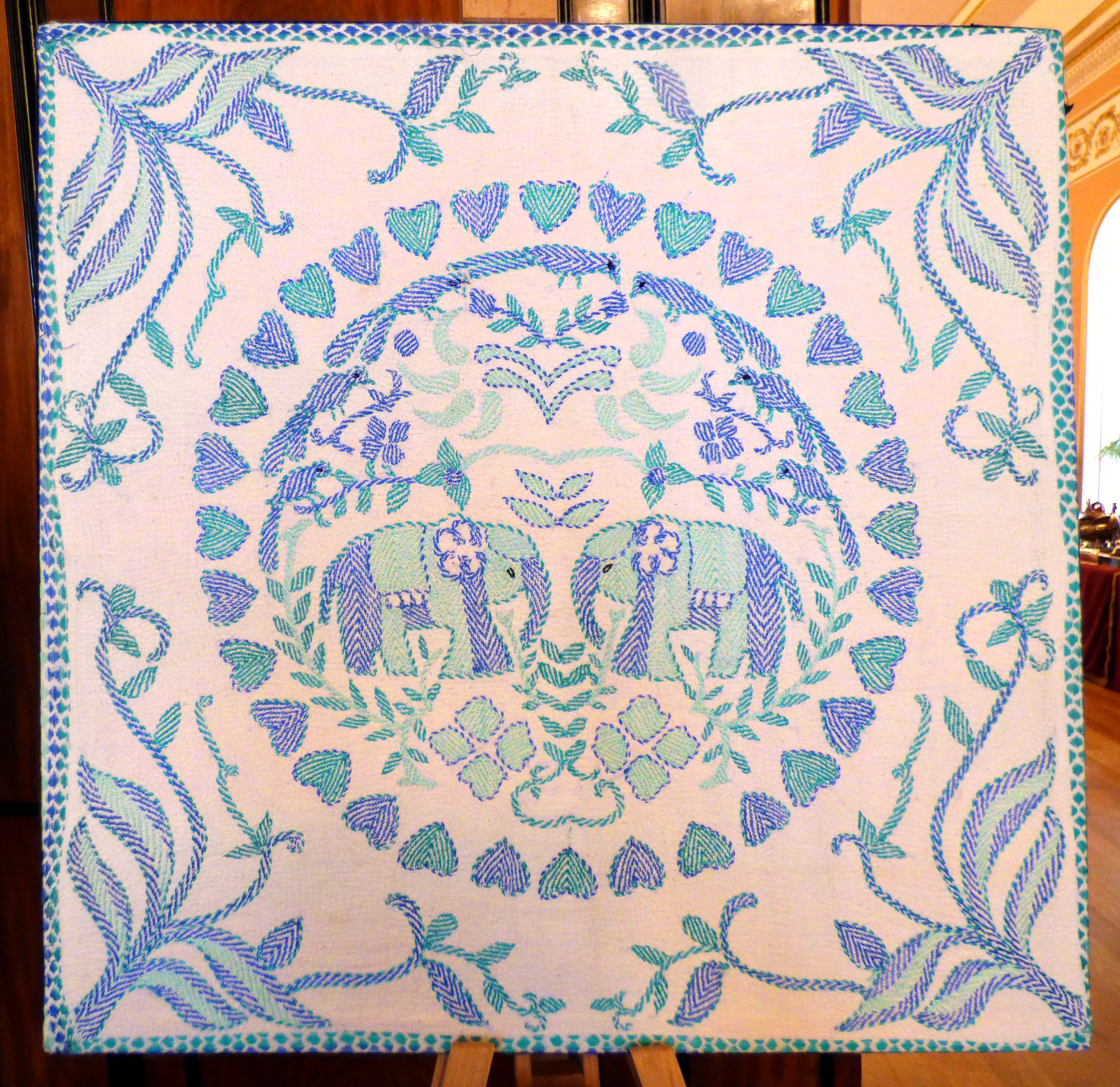 """kantha embroidery at """"Threading Dreams"""" exhibition at Liverpool Town Hall, August 2016"""