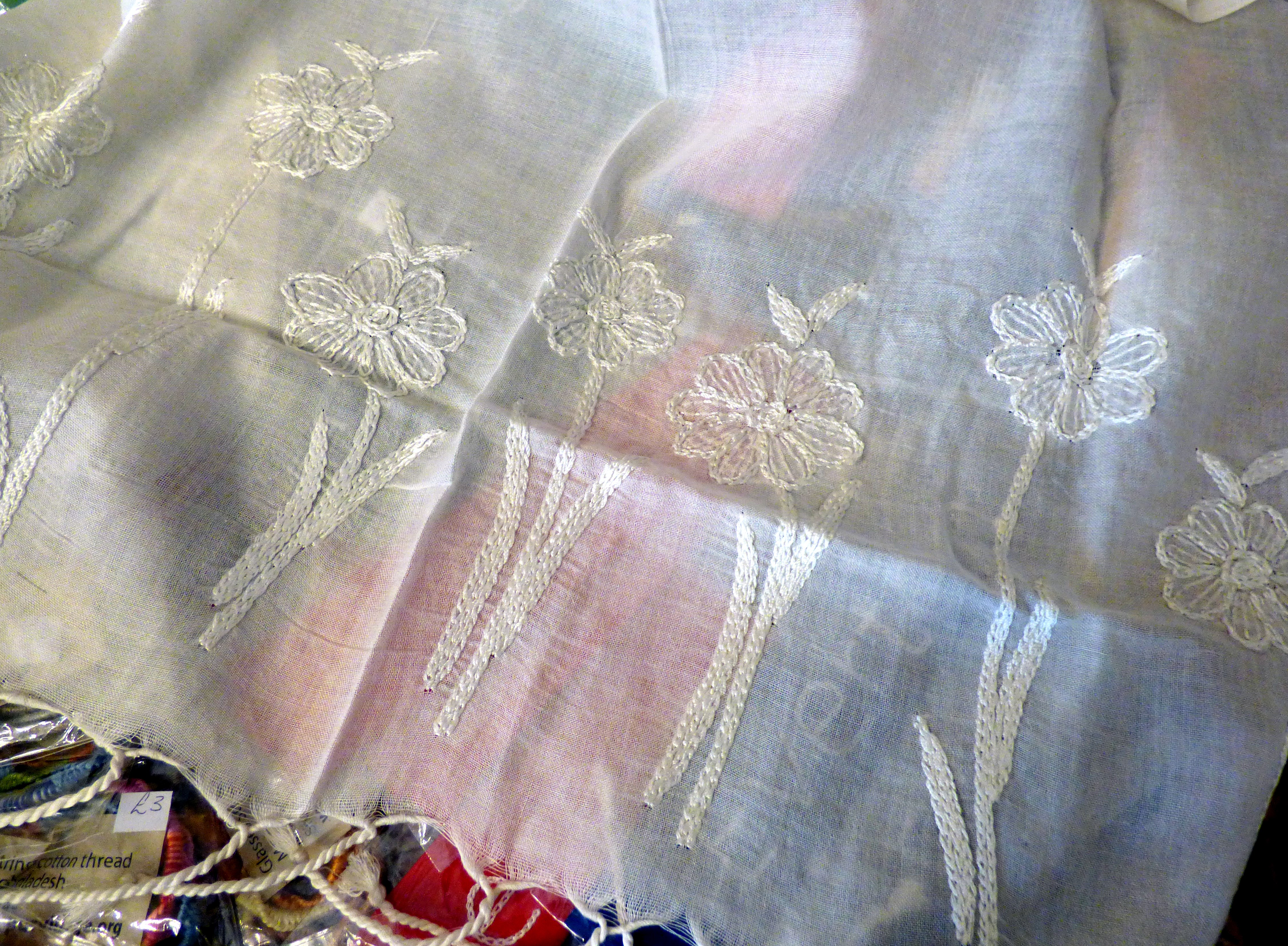 """detail of embroidery on gassed cotton scarf at """"Threading Dreams"""" exhibition at Liverpool Town Hall, August 2016"""