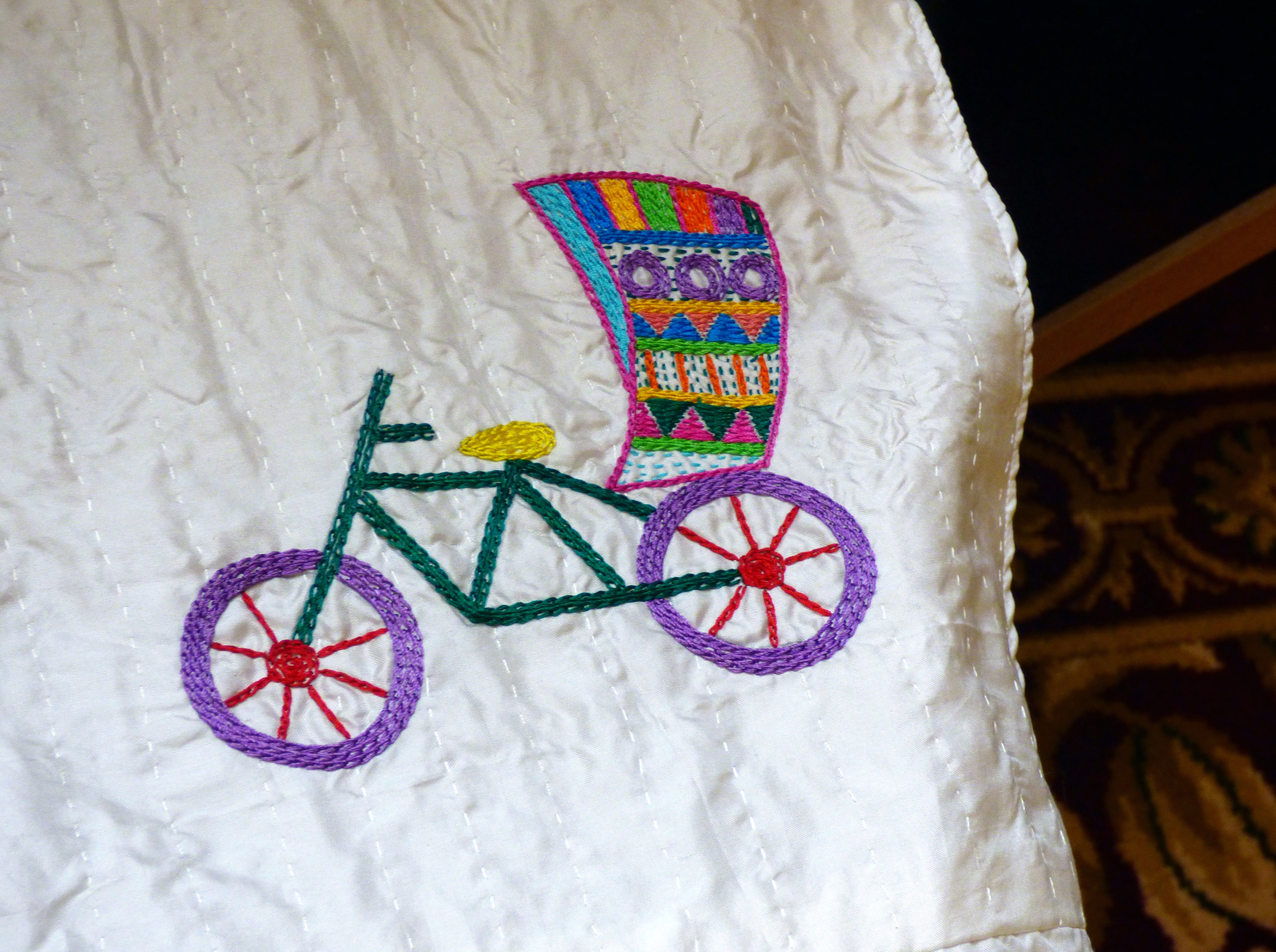 """embroidered rickshaw at """"Threading Dreams"""" exhibition at Liverpool Town Hall, August 2016"""