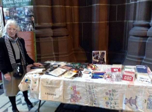 This is Ruby Porter MBE with part of her Sreepur stall in Liverpool Cathedral, March 2017
