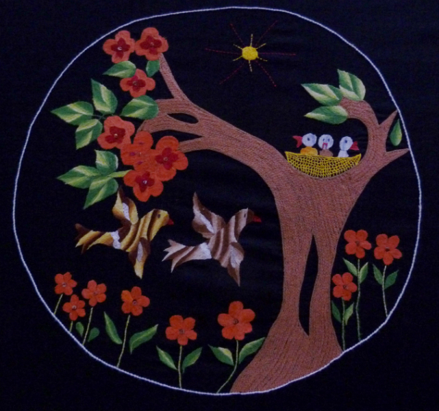 hand embroidered panel
