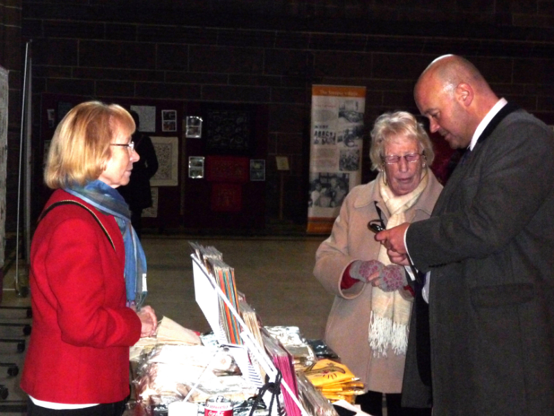 Ruby Porter MBE and Kathy Green with the Sreepur Stall in Liverpool Cathedral, Feb 2013