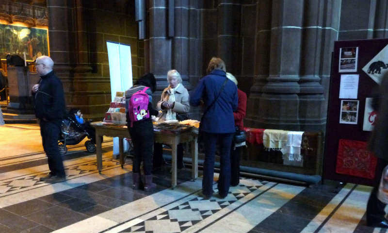 there is a lot of interest in scarves from Sreepur in Liverpool Cathedral