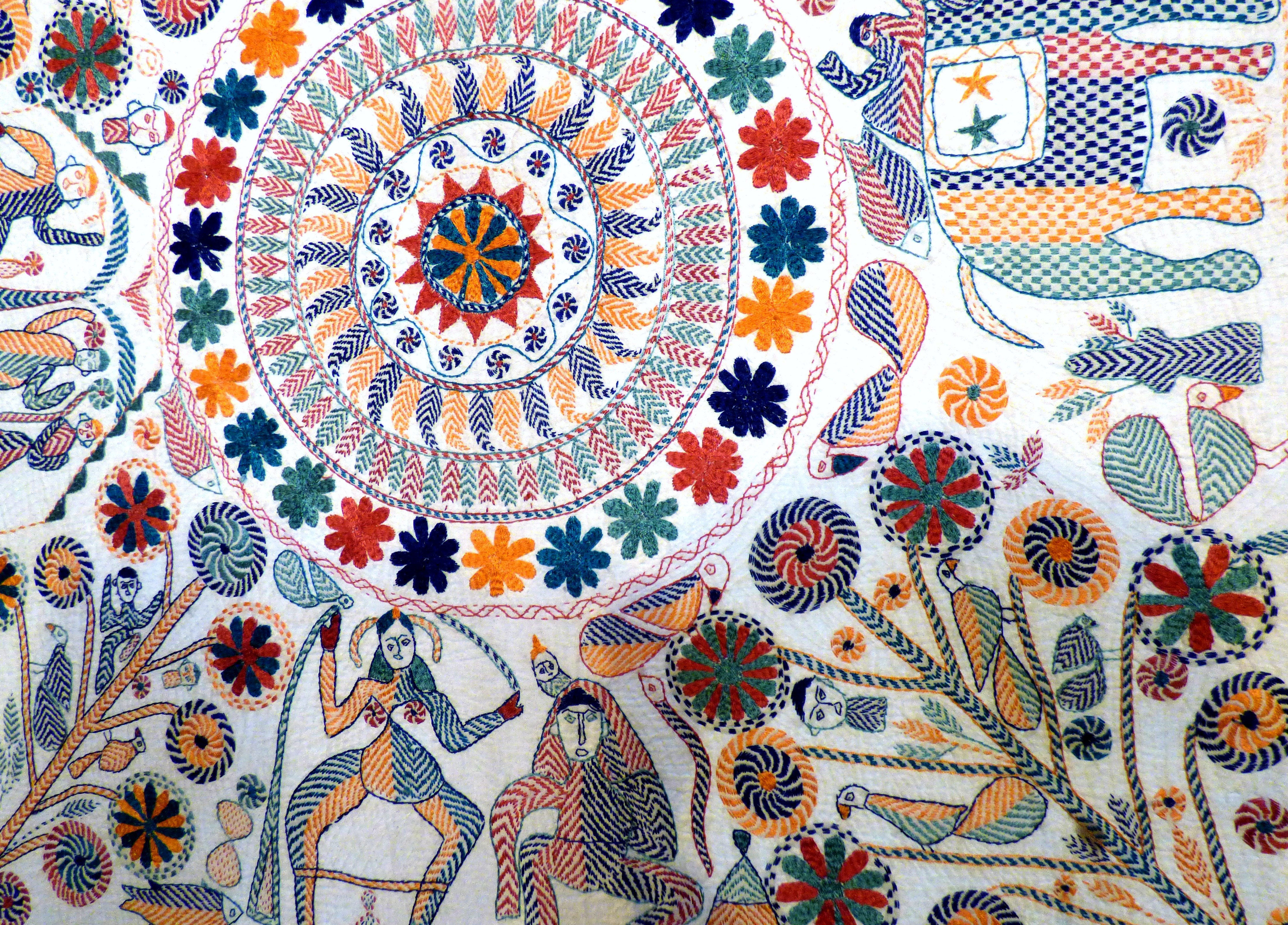 detail of kantha embroidery in collection of Ruby Porter