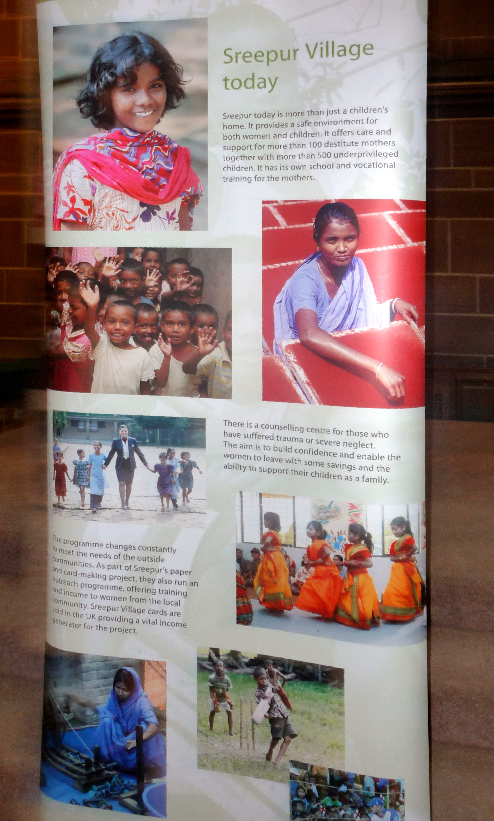 """poster of Sreepur Village at """"Threading Dreams"""" exhibition in Liverpool Cathedral, March 2015"""