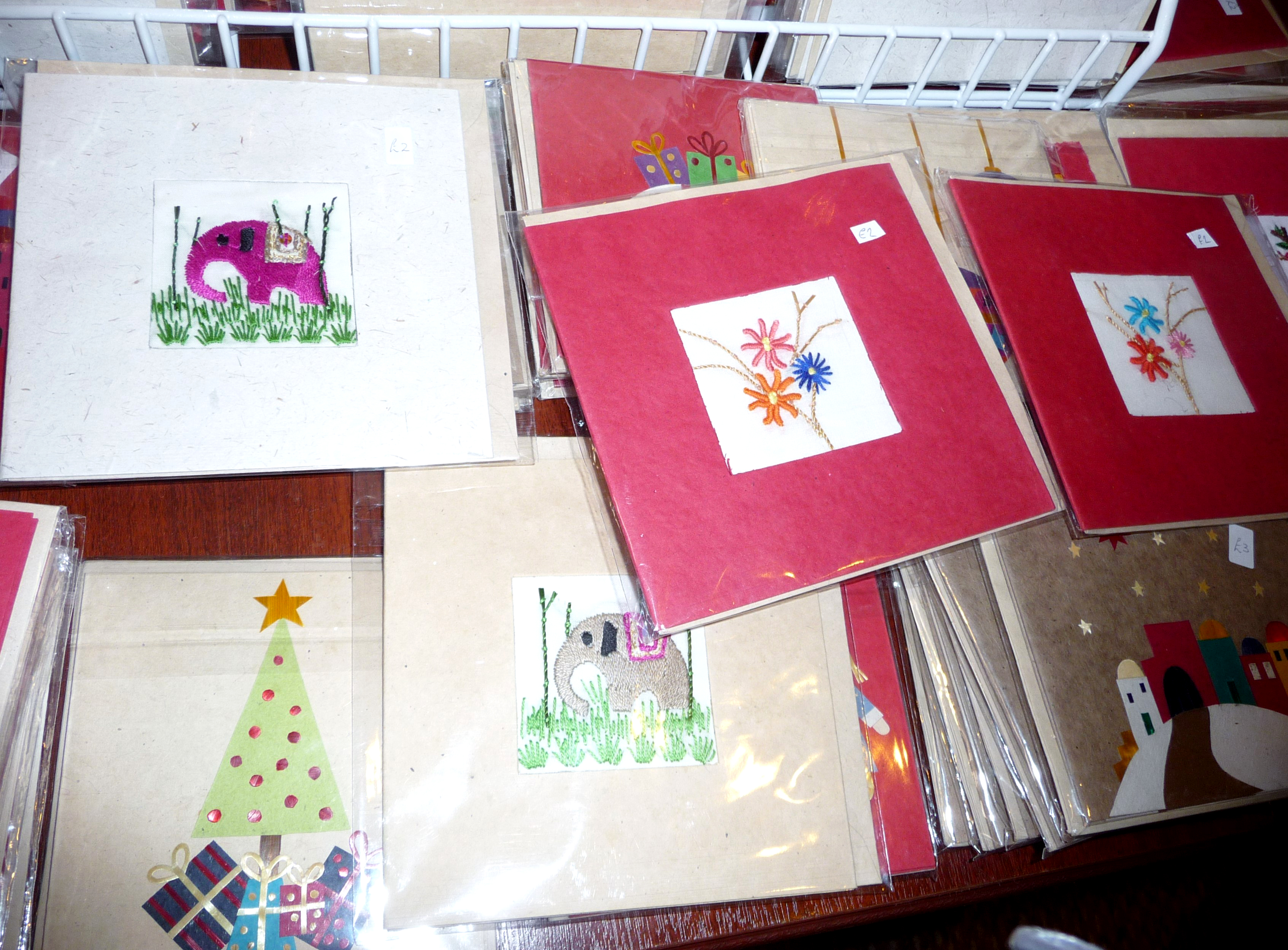 these are the latest deisgns in hand embroidered cards made in Sreepur