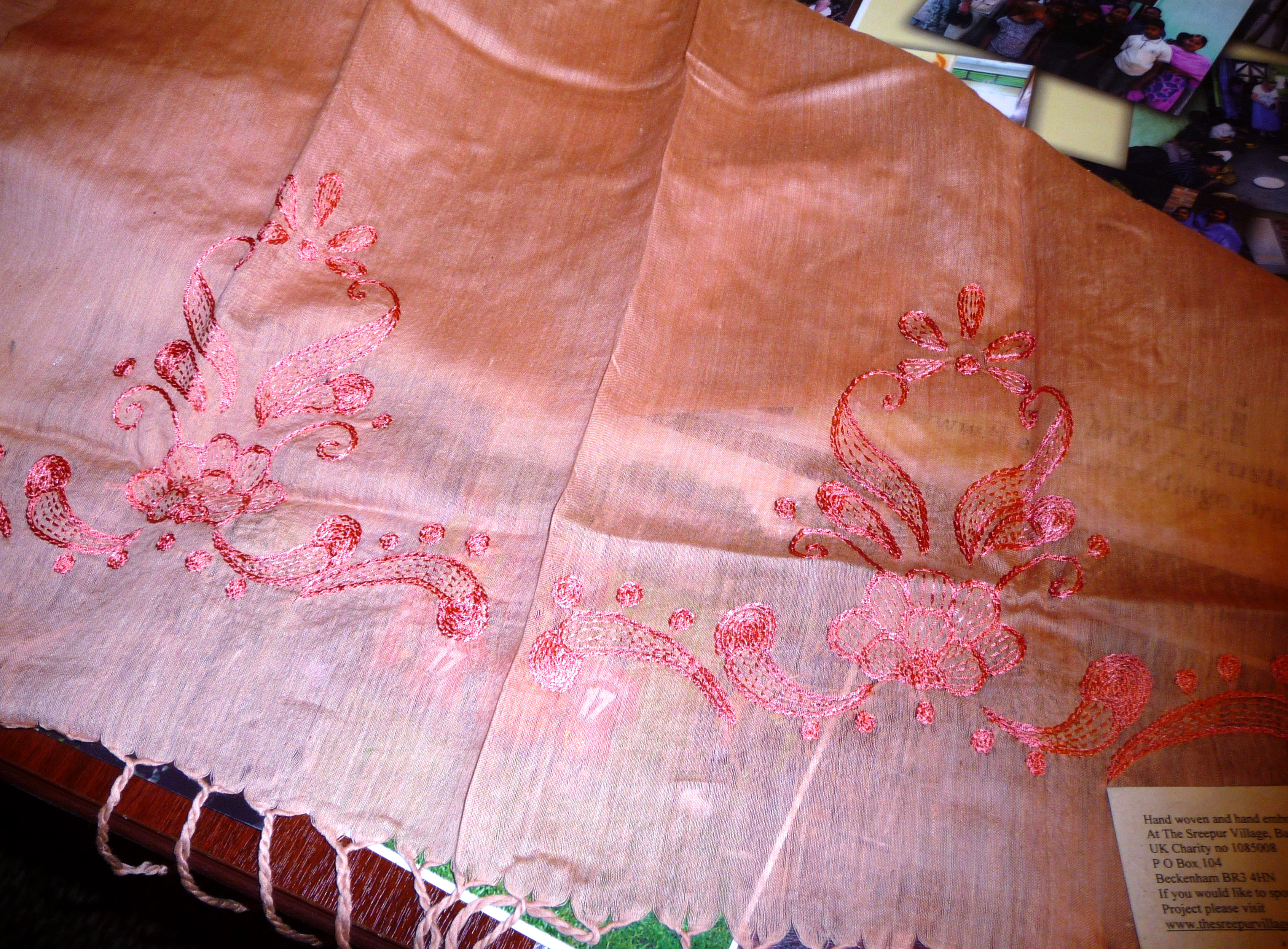 cotton/silk scarf with hand embroidery which has been dyed with a tea solution