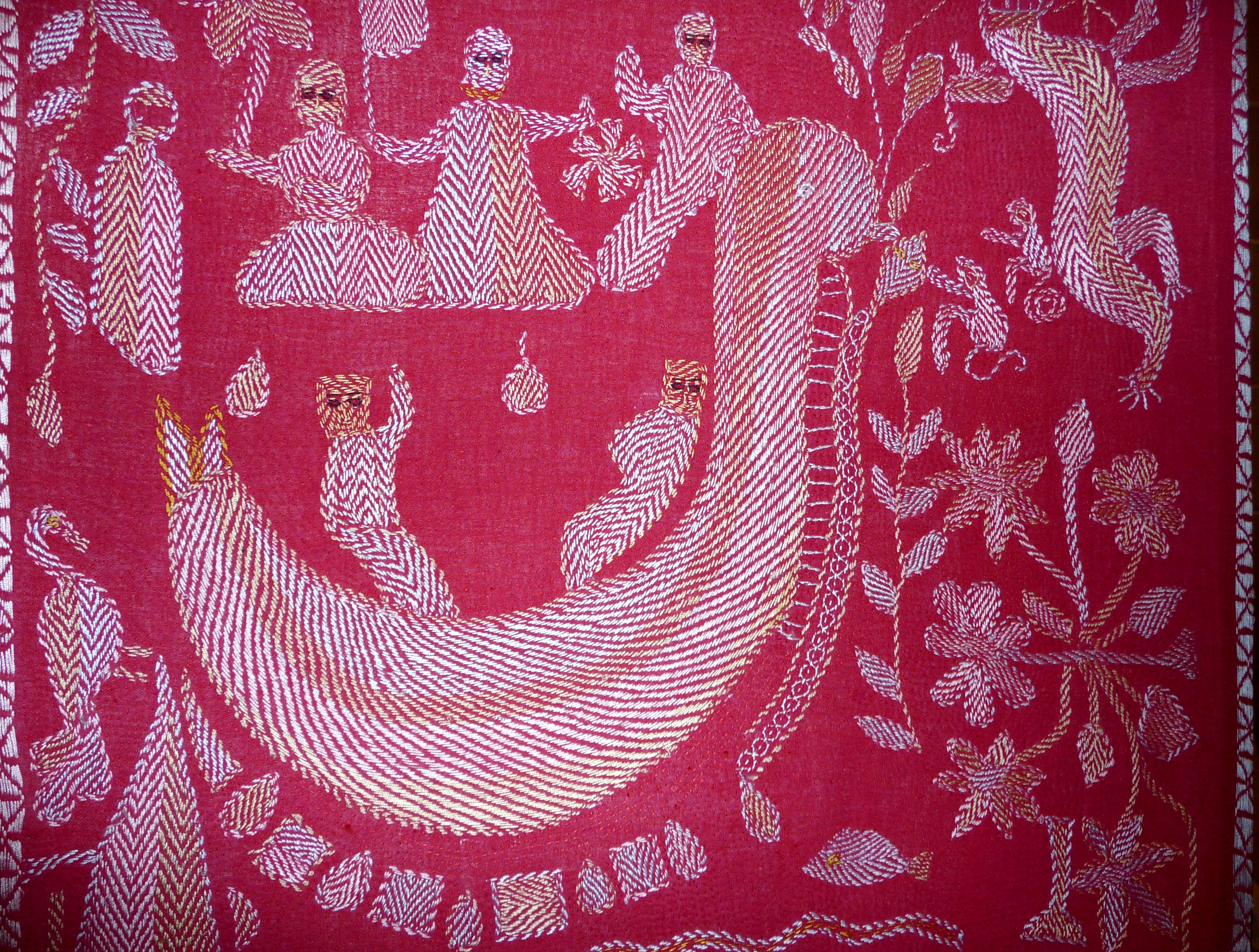 detail of kantha embroidery made in Bangladesh