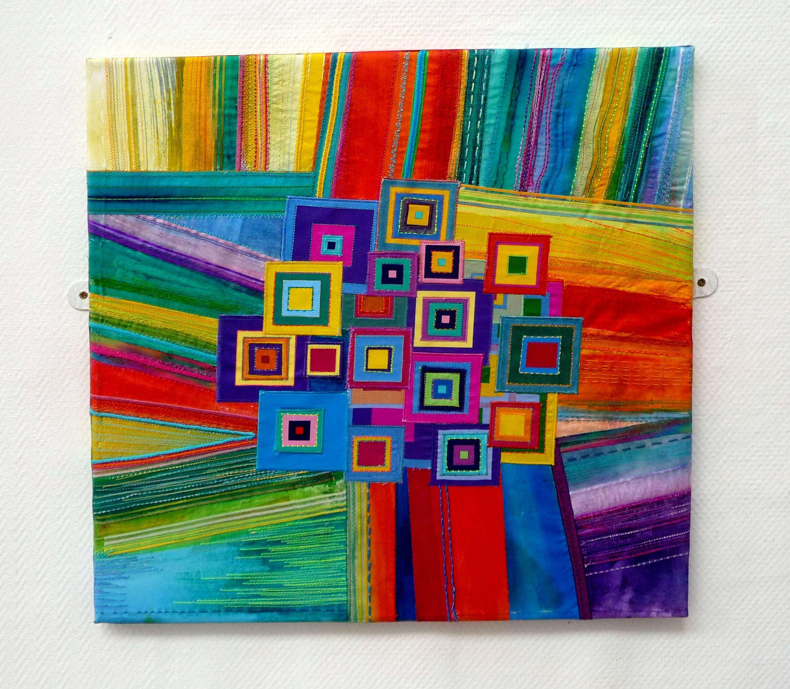 SQUARE DANCE by Beryl Waterfield, mixed media with stitch