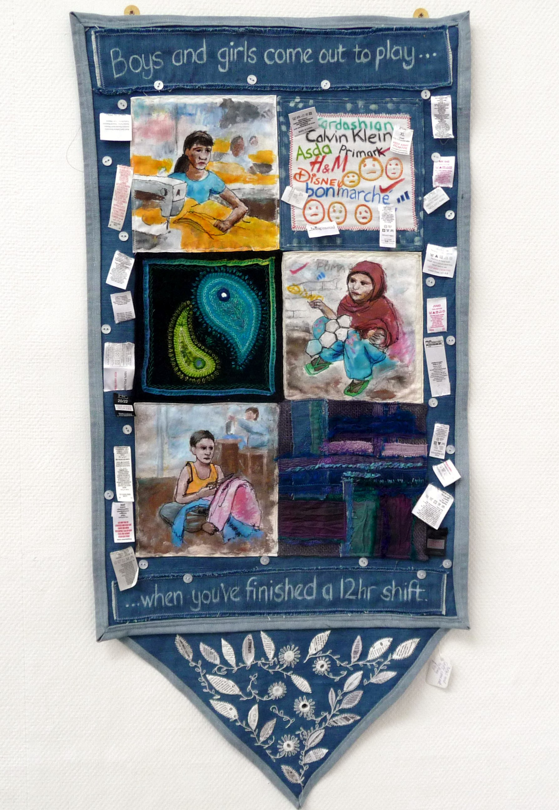 BOYS & GIRLS COME OUT TO PLAY by Nicola Robinson, pieced wall hanging, hand and machine embroidery