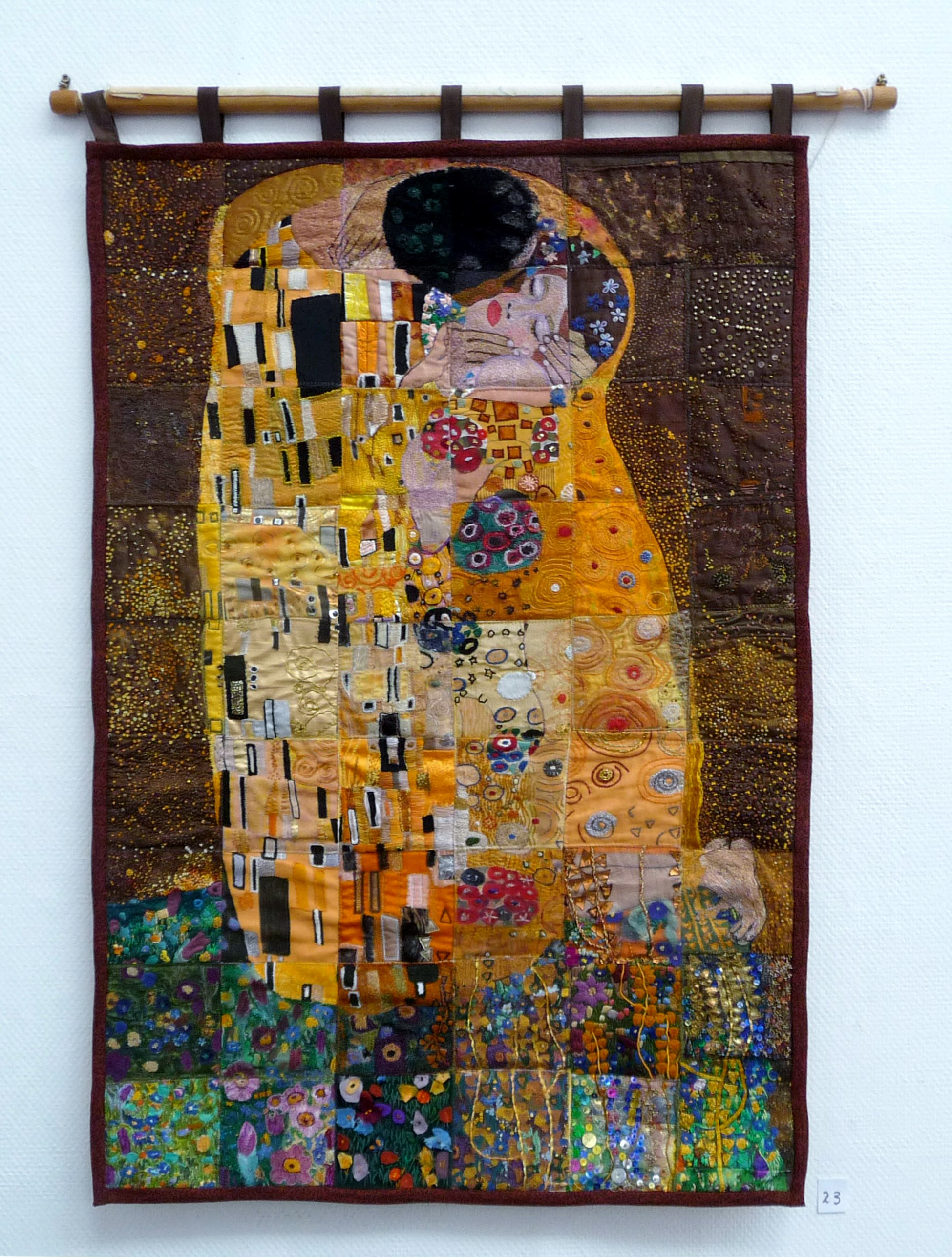THE EMBRACE, Wirral EG Branch project, stitched wall hanging