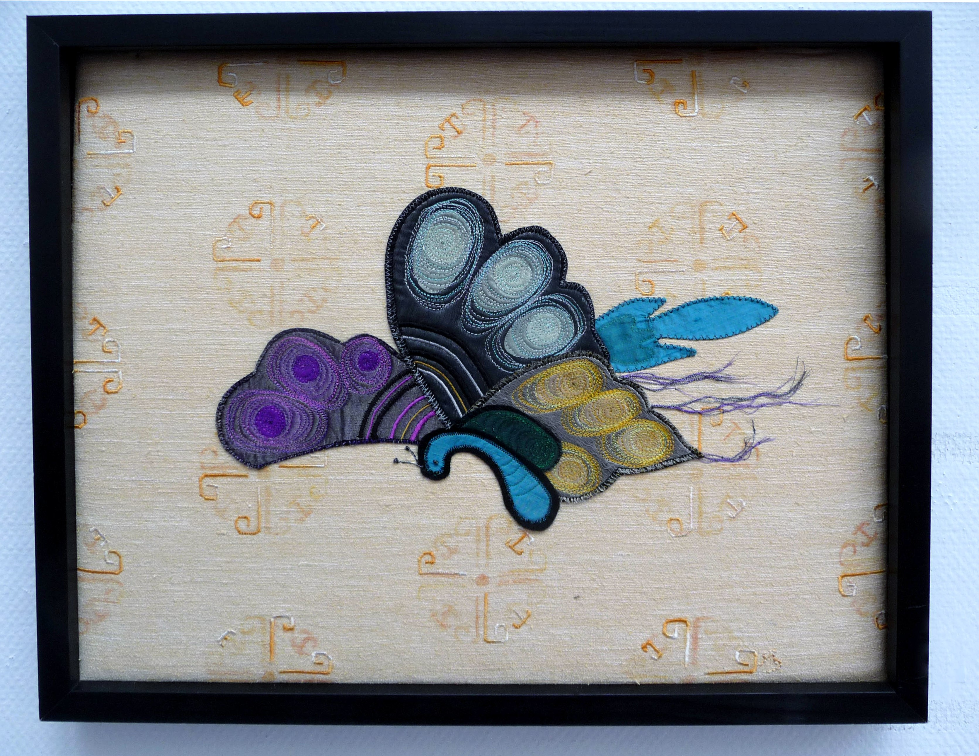 STITCHED IN FLIGHT by Anne Stark, machine embroidery on layered fabrics
