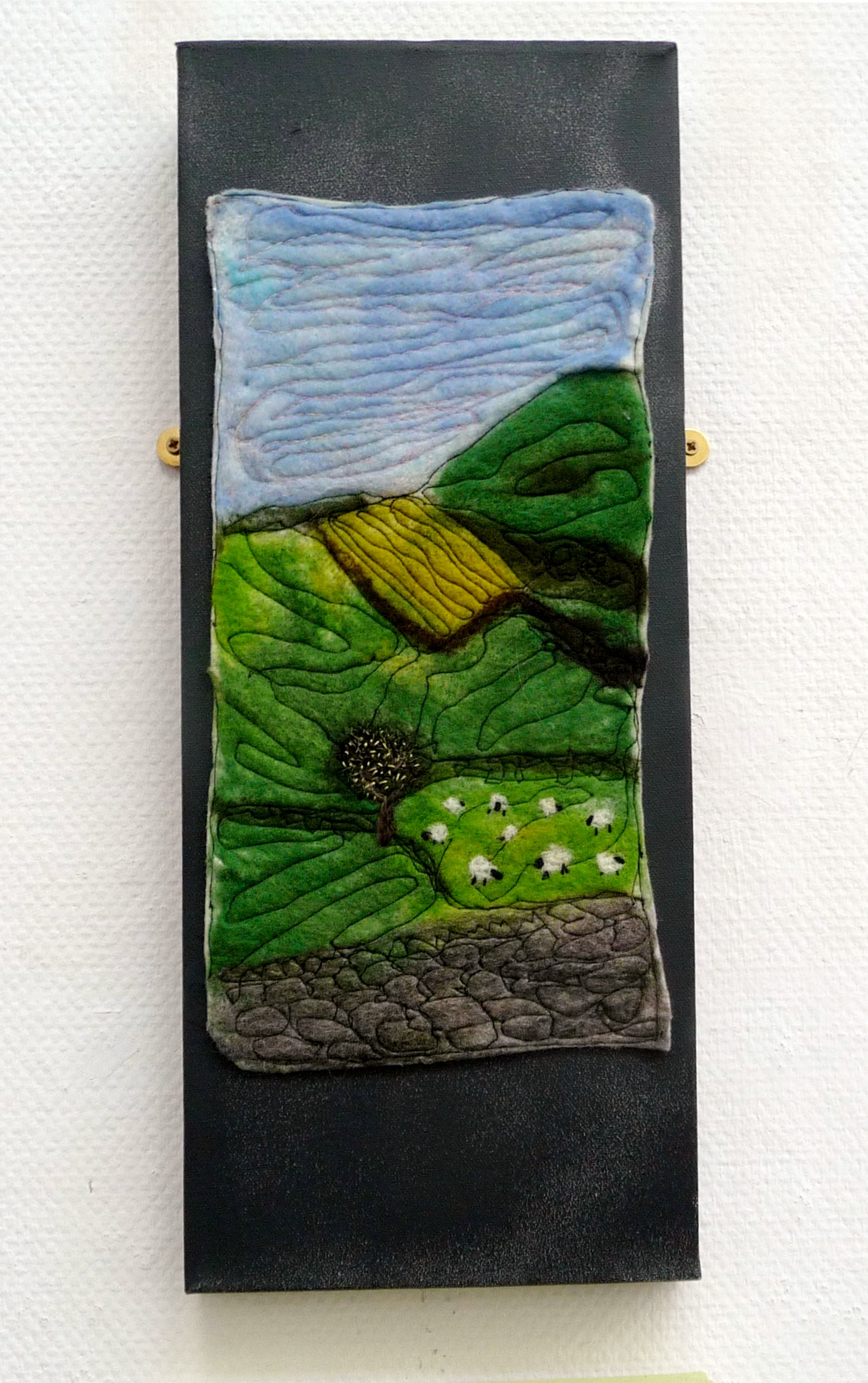 LANDSCAPE by Sue Turner, needle & wet felt with machine embroidery