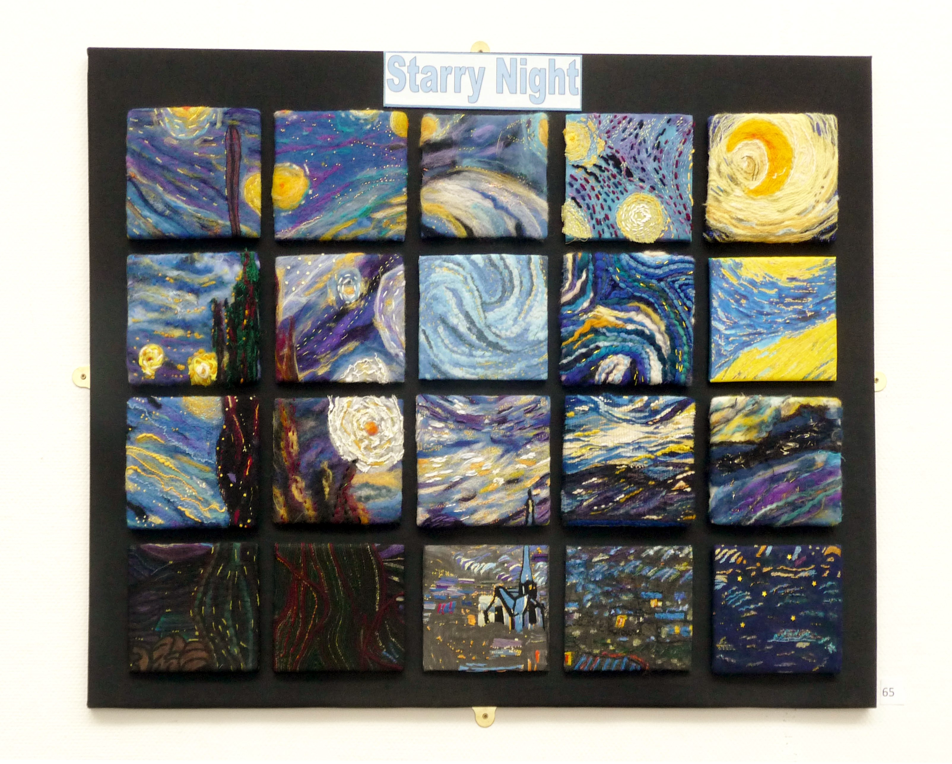 STARRY NIGHT,  N. Lonsdale EG Branch Joint Project, 4x5 in grids based on Vincent Van Gogh's painting, variuos embroidery techniques were used