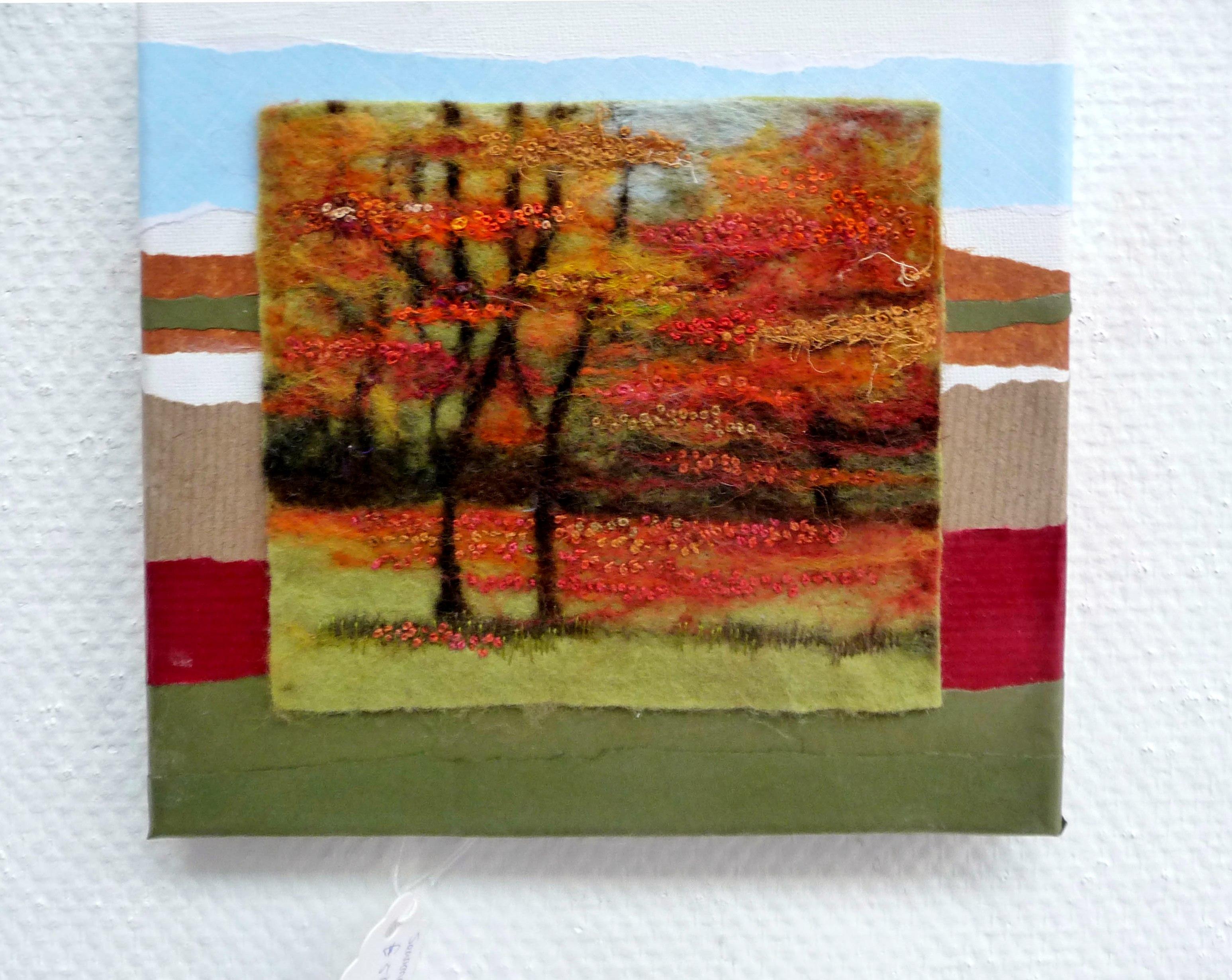 SEASONAL WORK3 by Nicky Robertson, needle-felting & hand stitching on canvas