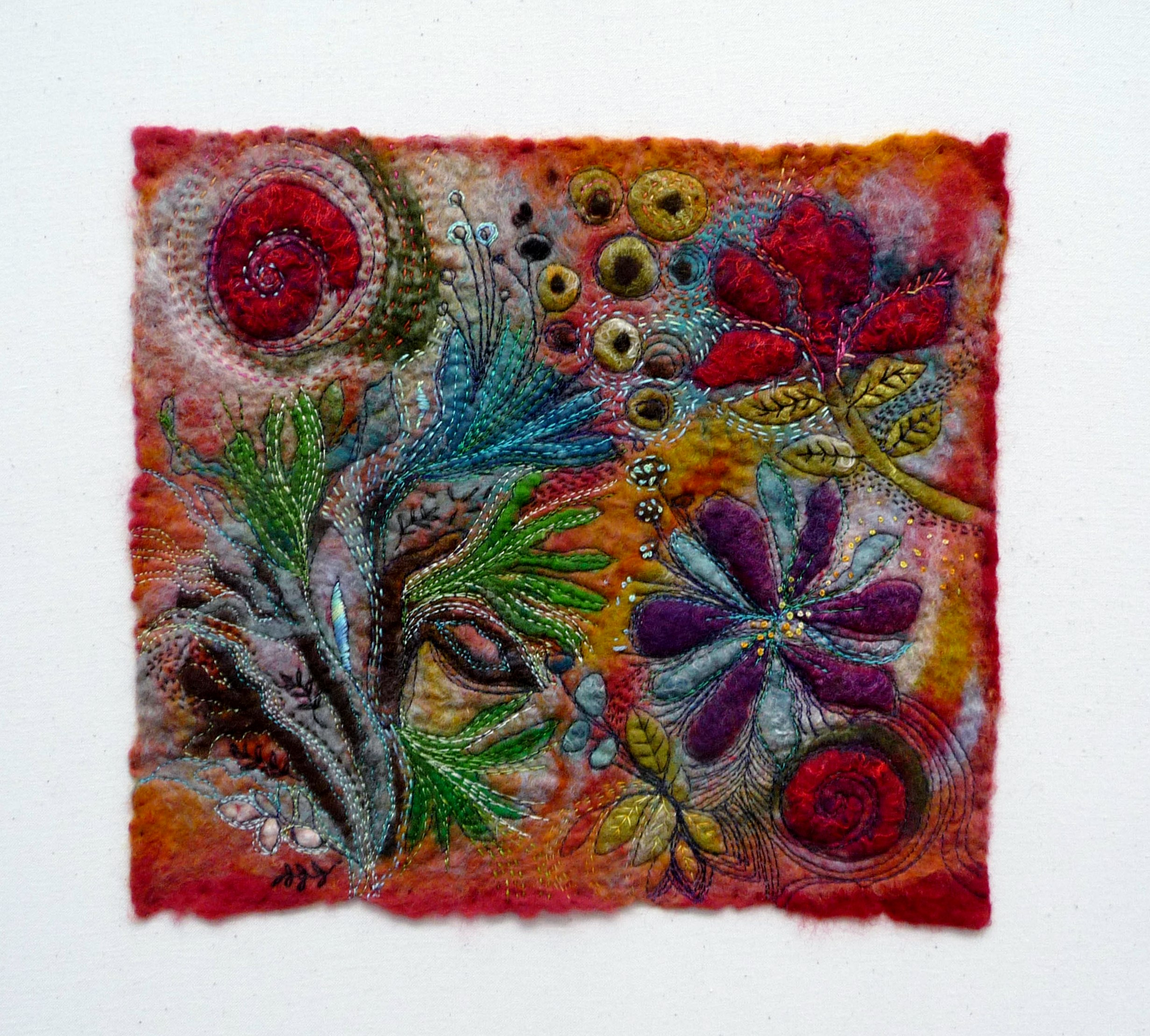 HOT HOUSE FLOWERS by Jackie Cardy, felt wall panel with hand & machine embroidery