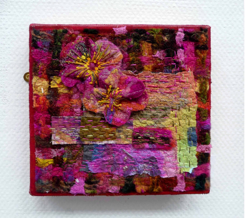 WILD ROSE 1 by Sandra Kedzlie, needle-felted wool with hand stitching and machine stitching