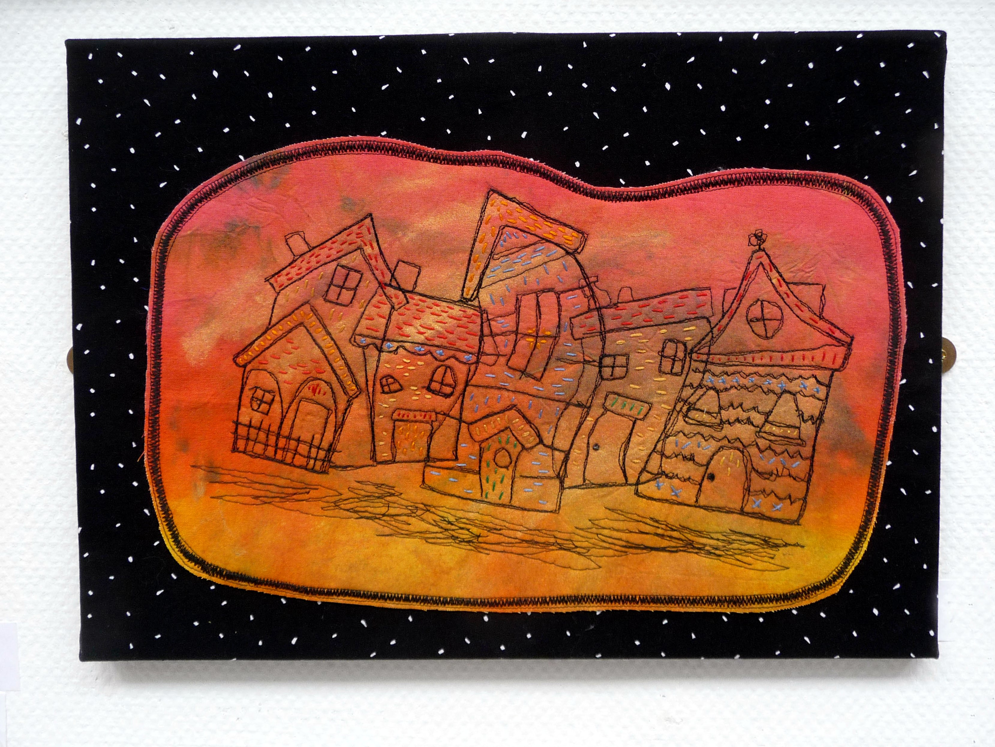 WONKY COTTAGES by Judith Rigg, hand and machine embroidery