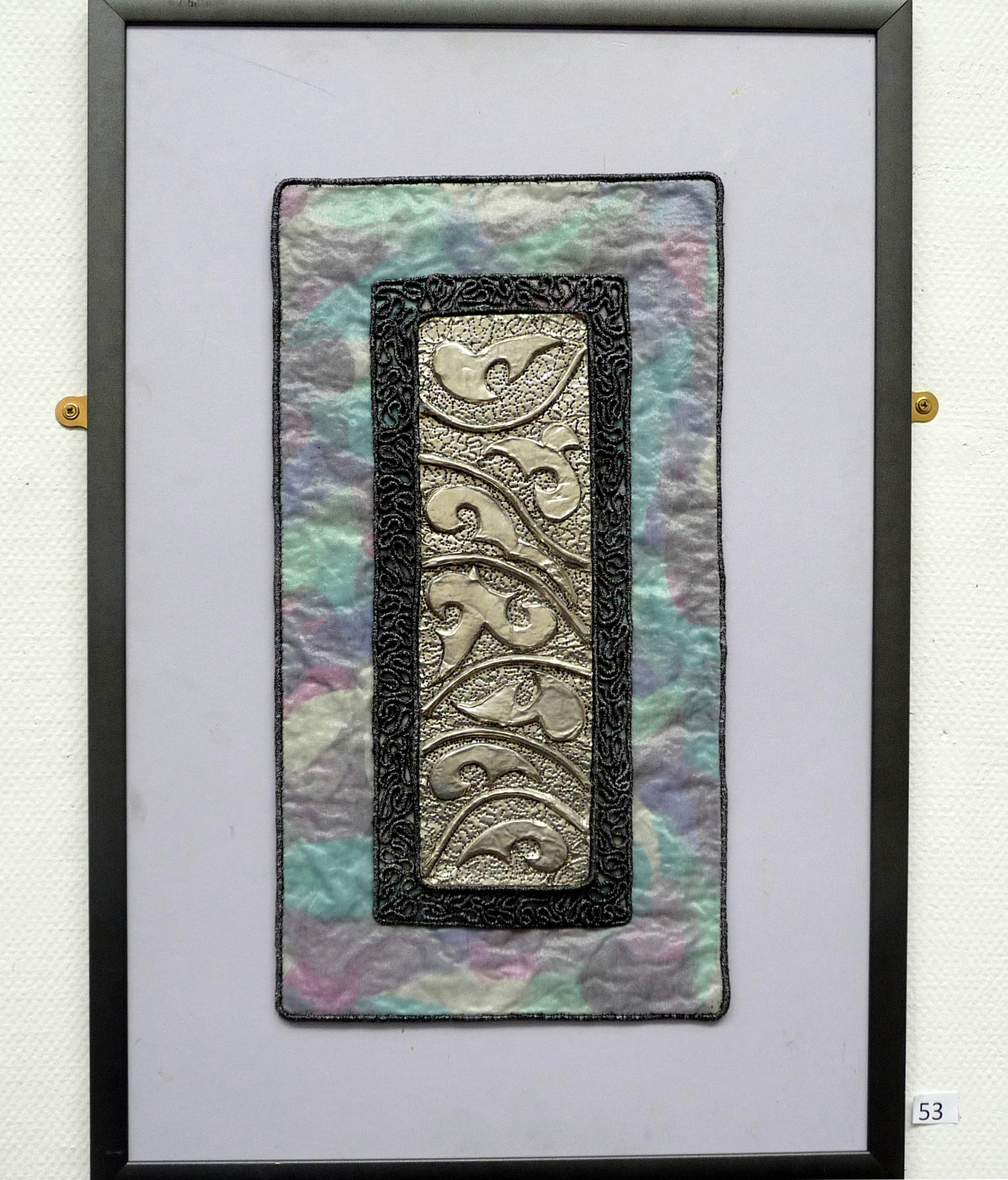 PEWTER 1 by Jean Machulec, embroidered pewter, machine and hand stitching