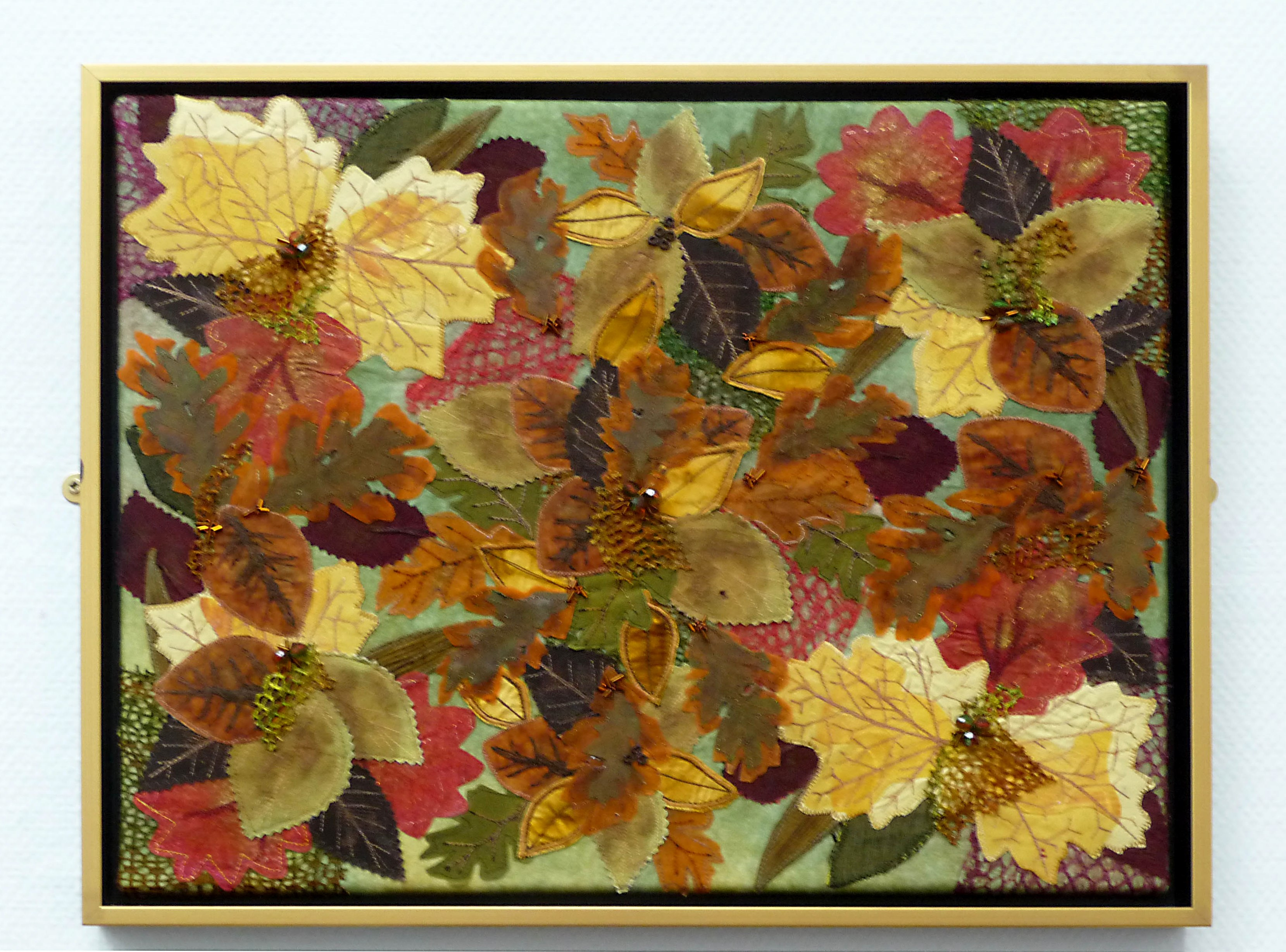 AUTUMN PANEL by Margaret Levens, mixed media with machine embroidery, embellished with beads