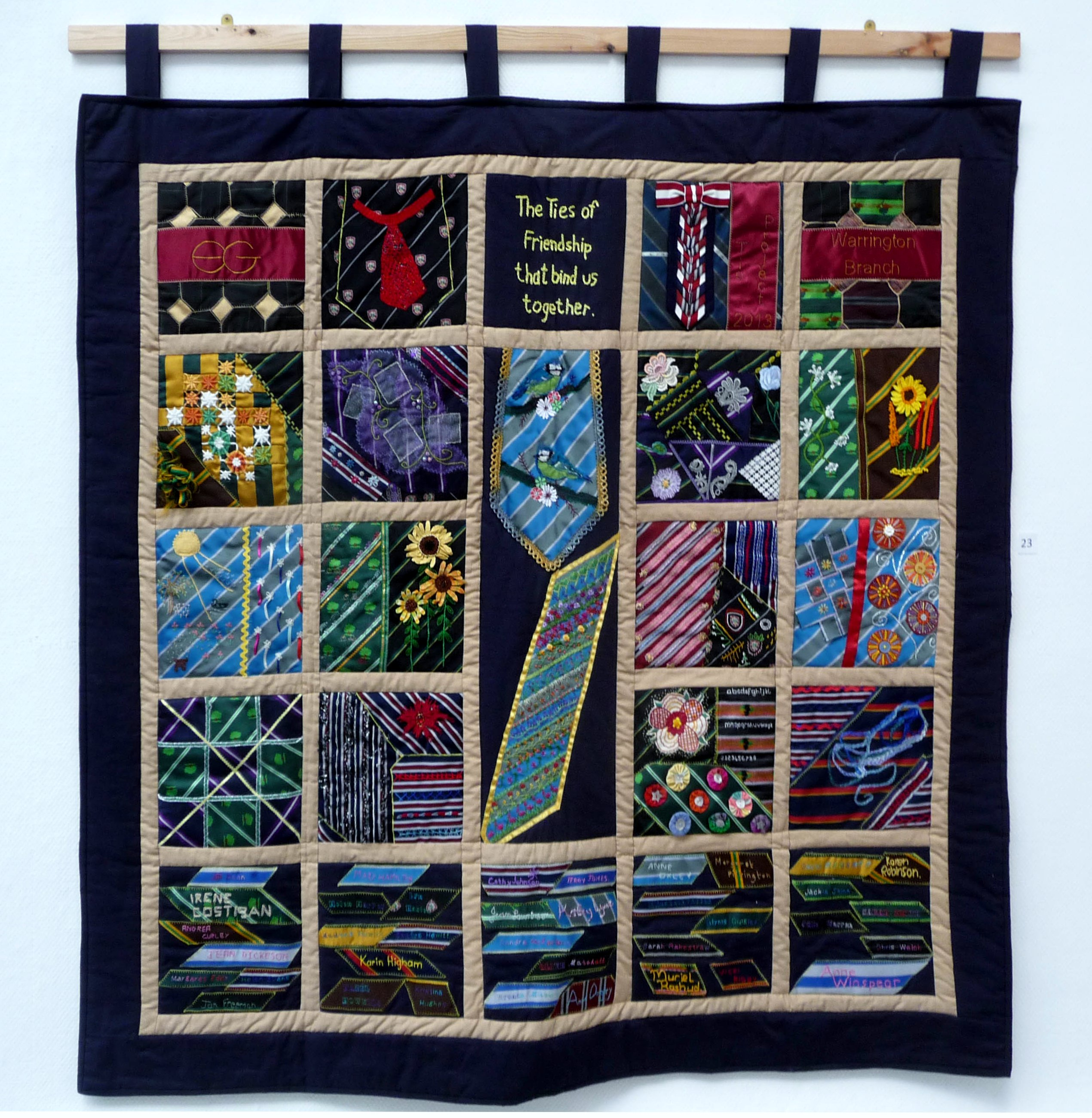 Wirral eg Branch Project, wall hanging joined in stitch