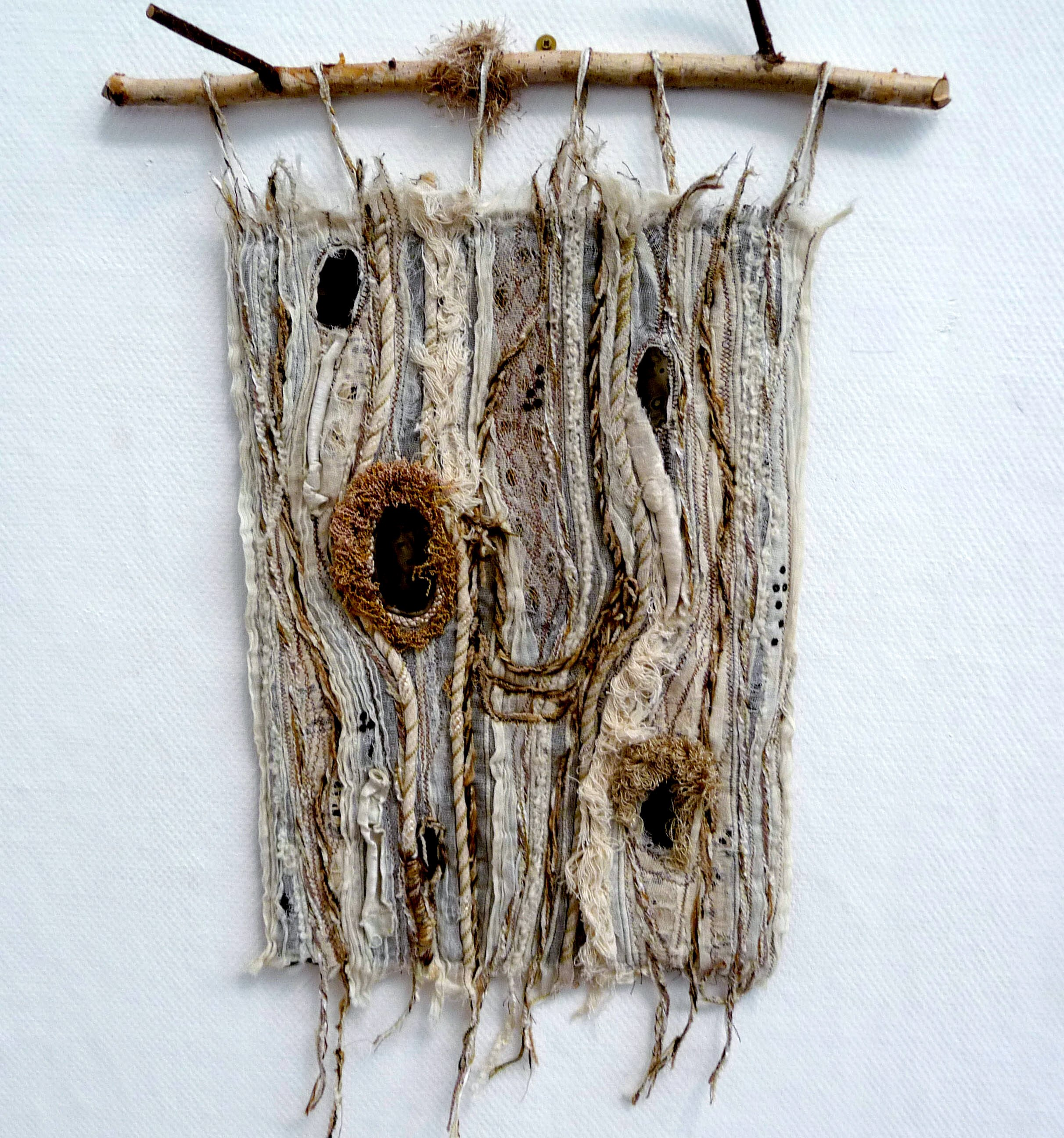 TREE BARK INFLUENCE by Margaret Levens, textured wall hanging, machine stitched with machine made cords