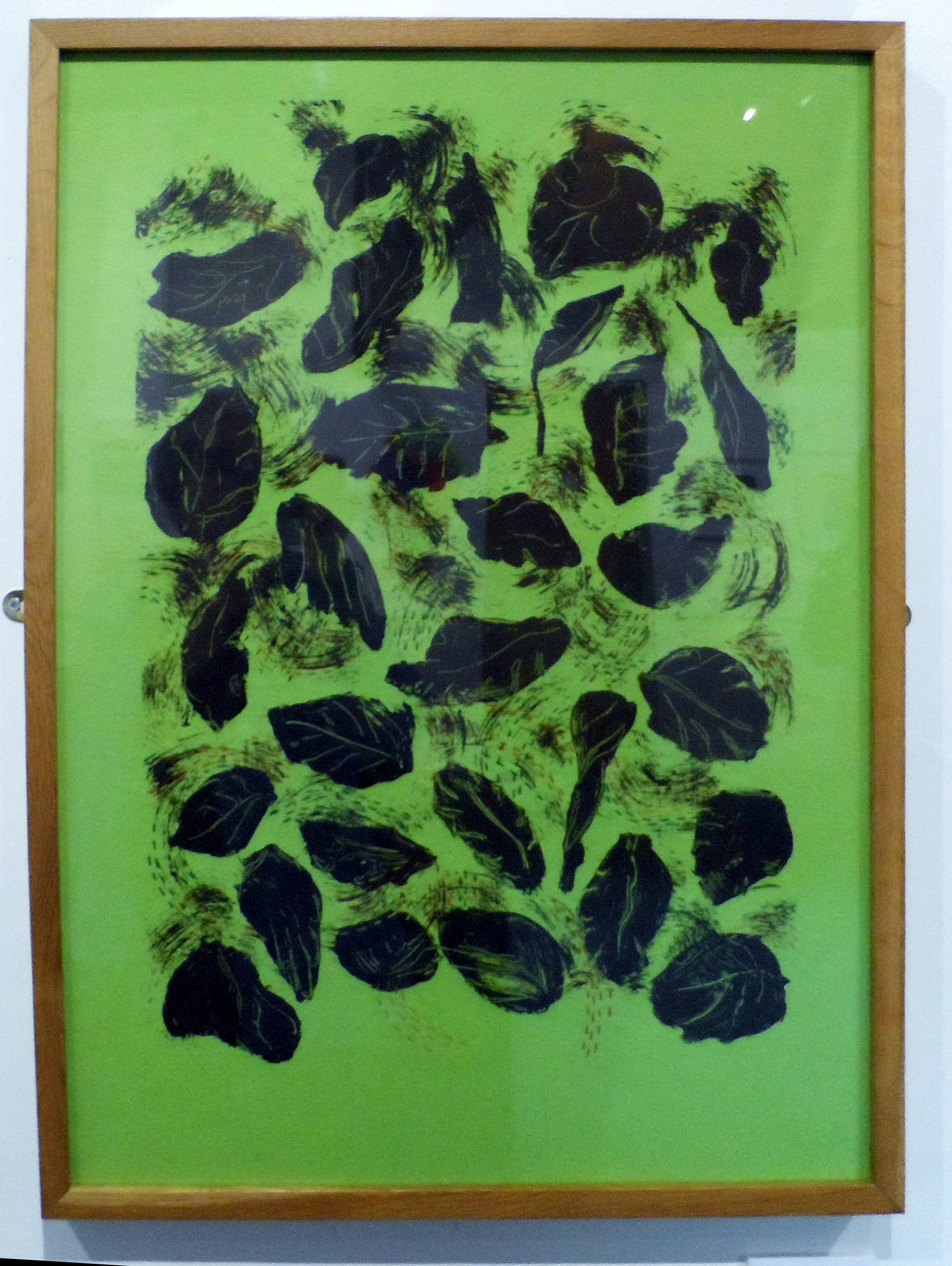 AUTUMN by Janet Wilkinson, screen-print & stitch, Re-View Textile Group, Frodsham 2019