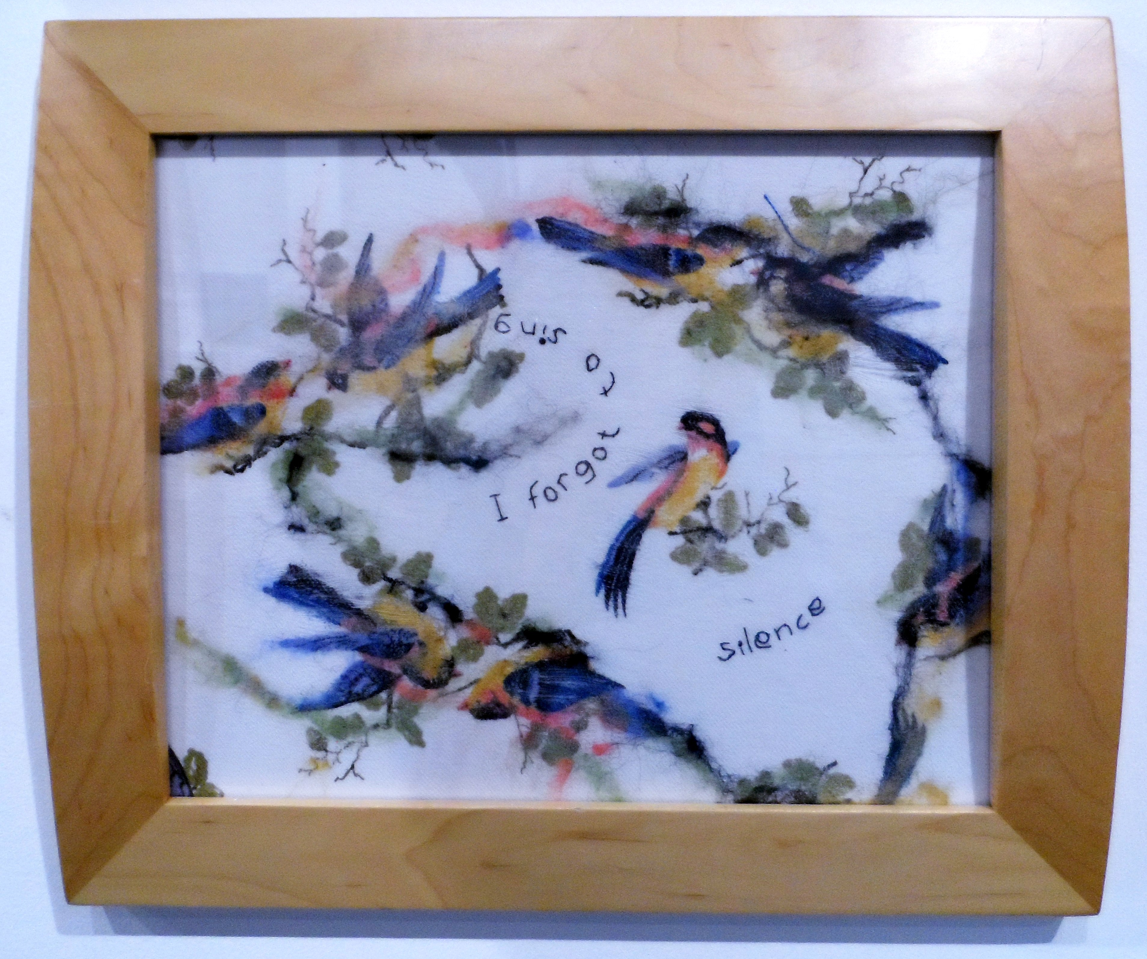 SILENT SONG by Janet Wilkinson, needle felt & stitch, Re-View Textile Group, Frodsham 2019