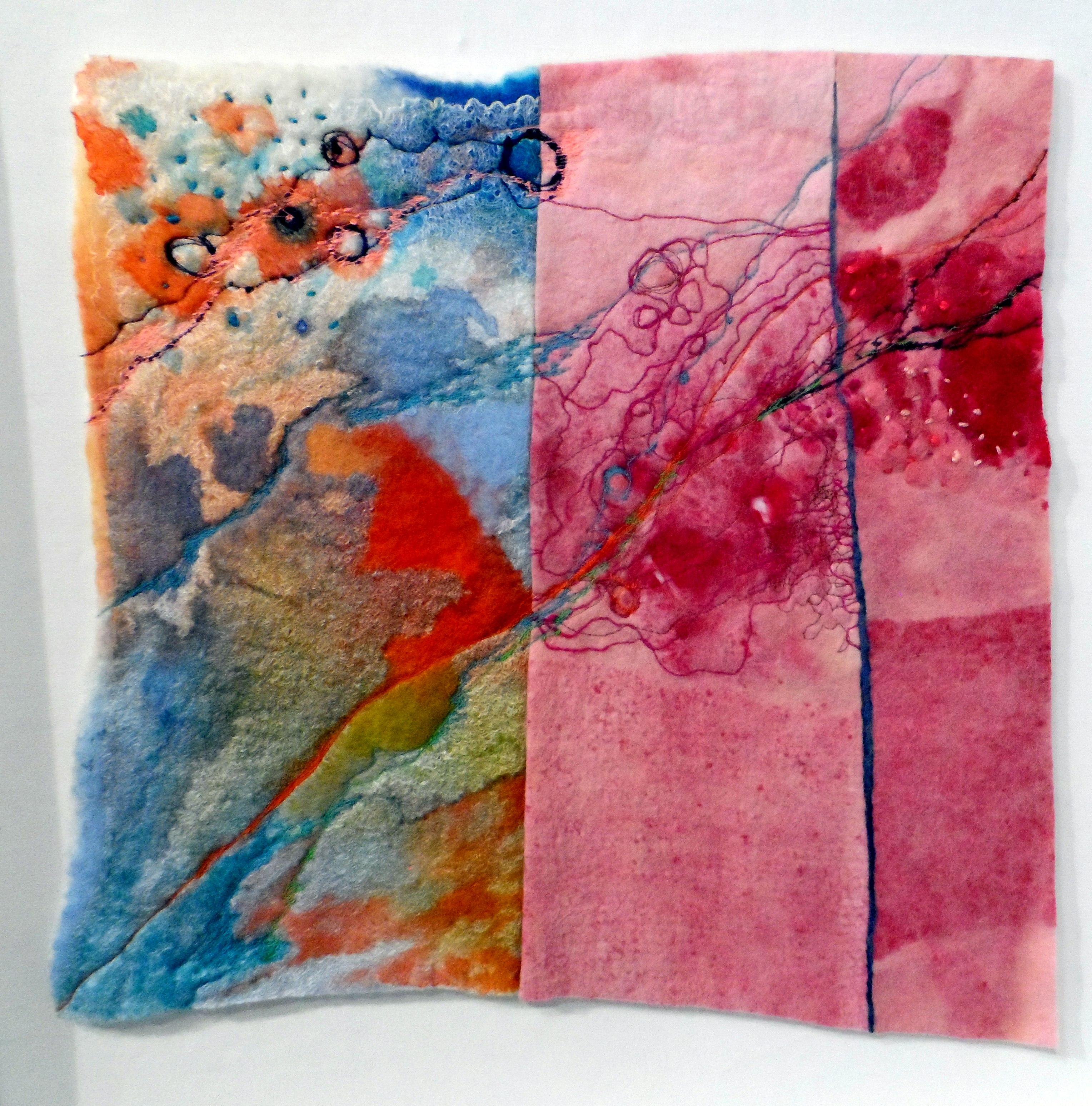 STRATUM by Catherine Carmyllie, felted wool, silks, dyed, stitched & painted, Re-View Textile Group, Frodsham 2019